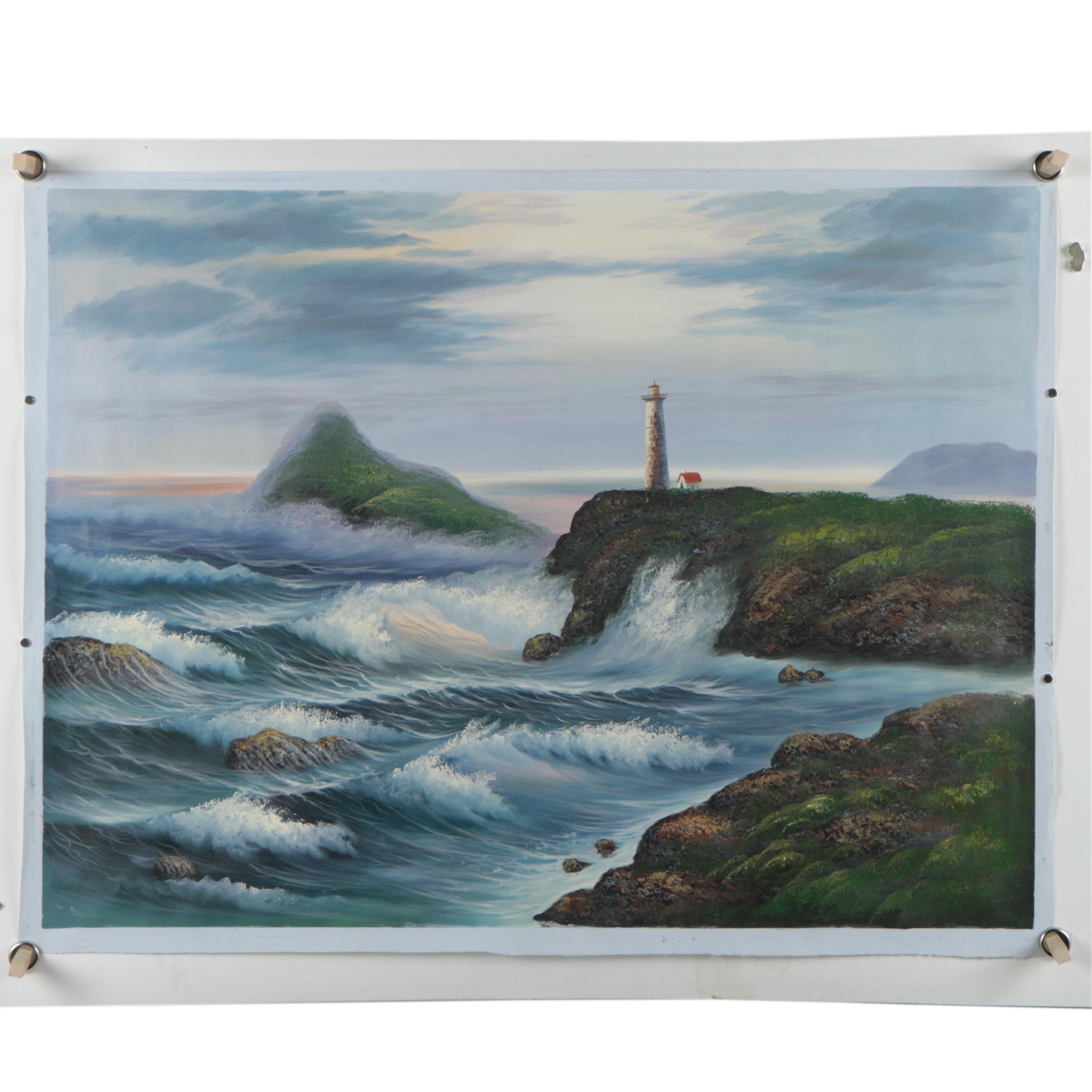 Oil on Canvas Landscape Painting of a Lighthouse