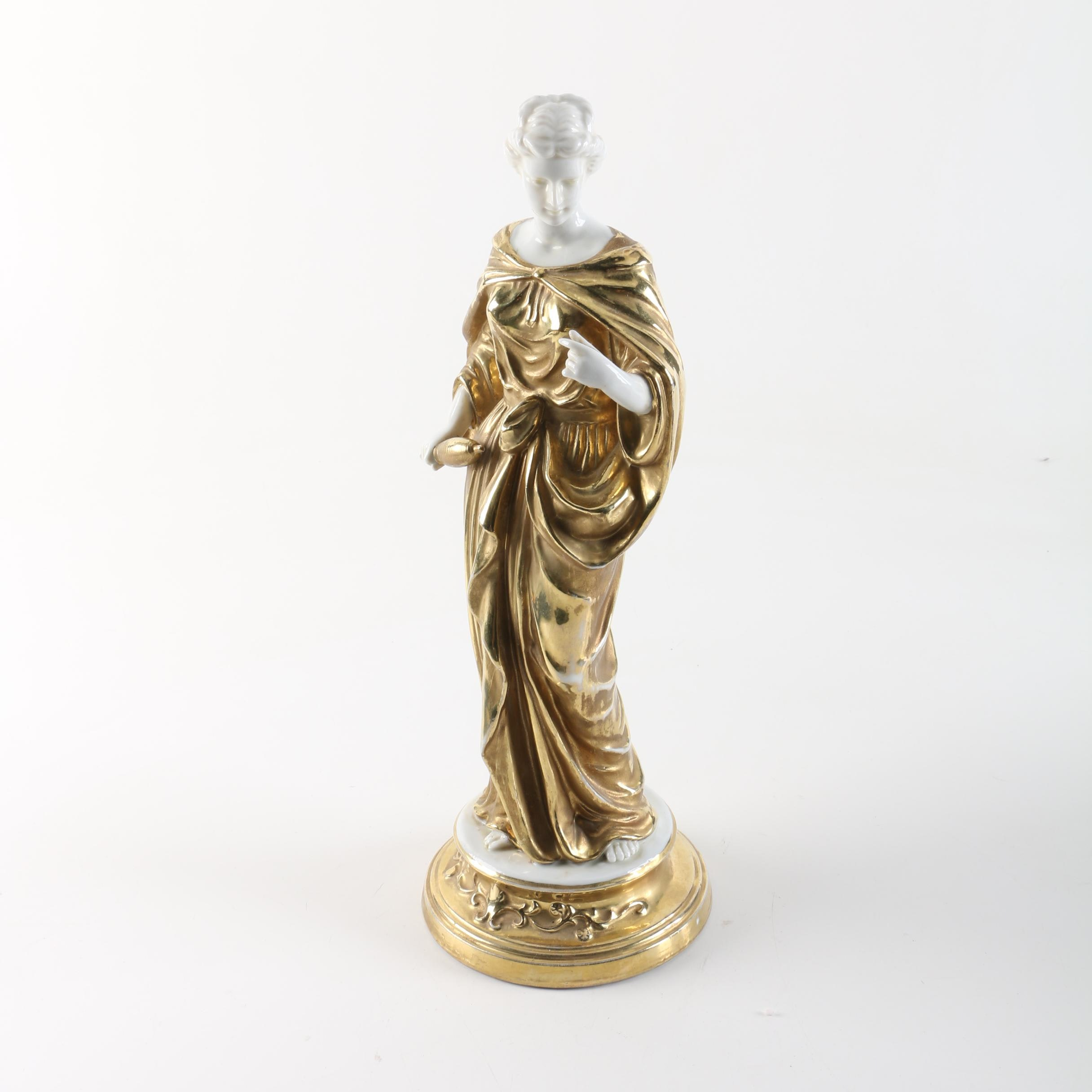 Classical Style Porcelain Figurine of Woman with Gold Tone Robes