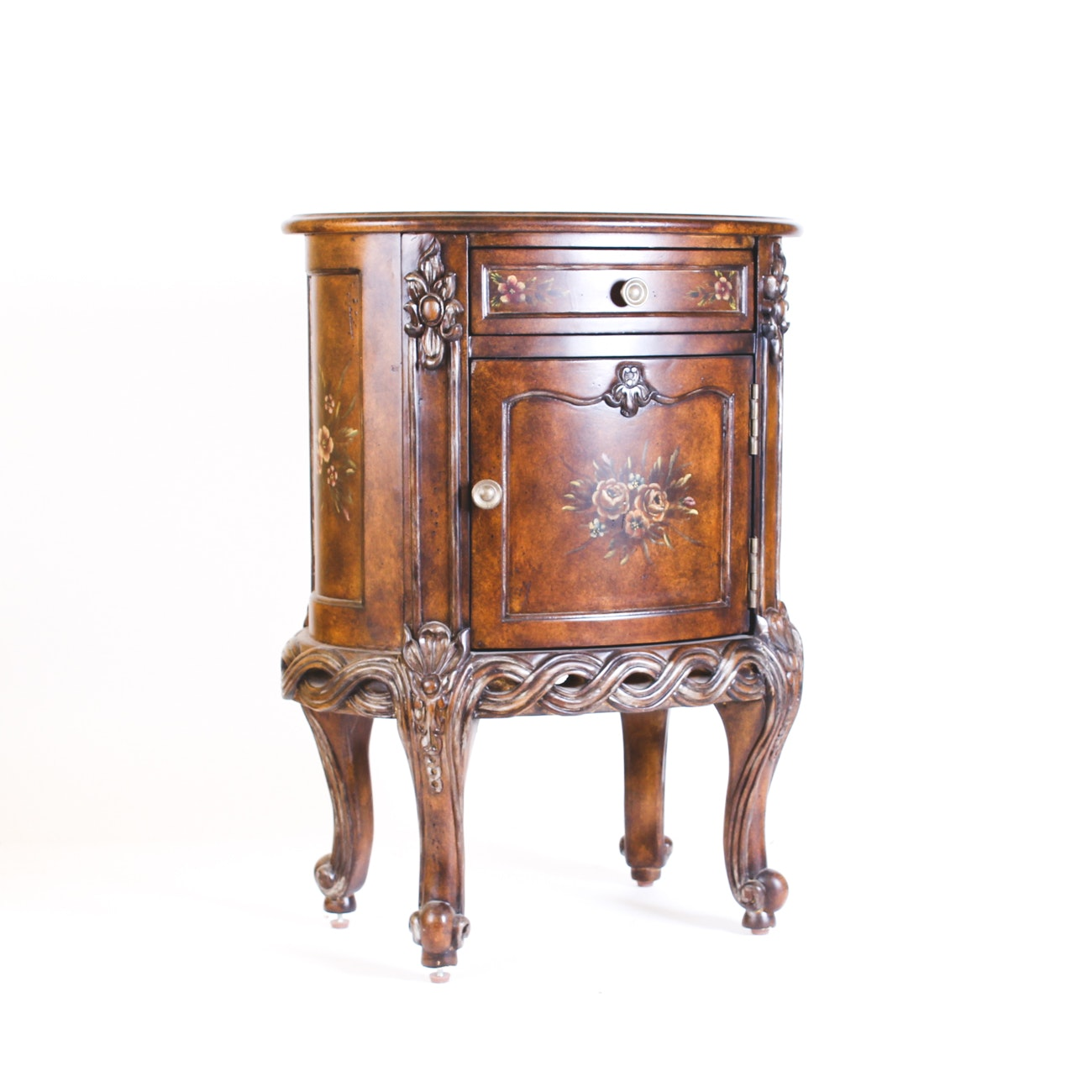 Oval Commode Stand with Hand-Painted Floral Motif