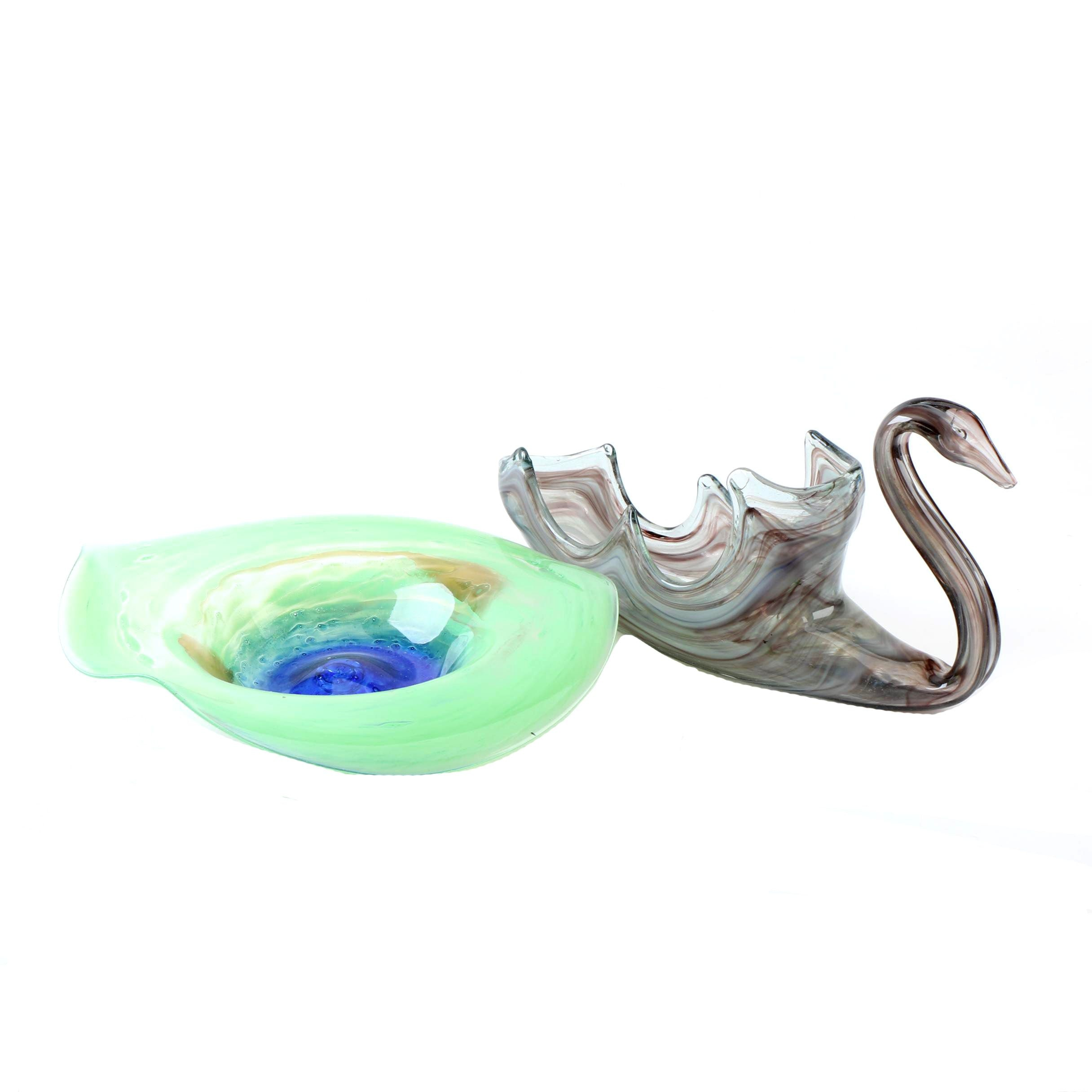 Swan Motif and Abstract Art Glass Bowls