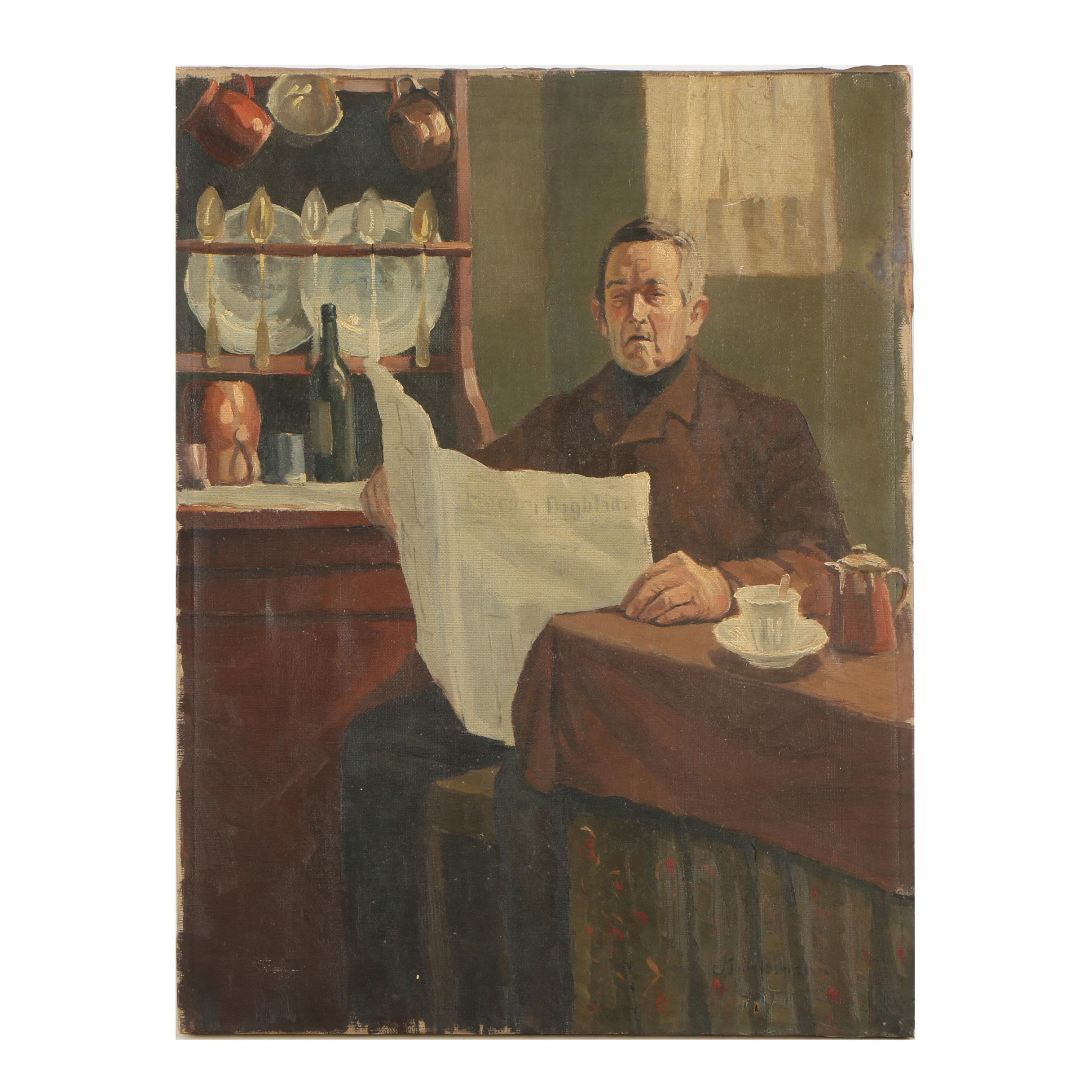 Björkmann Mid Century Oil Portrait of Man Reading Newspaper