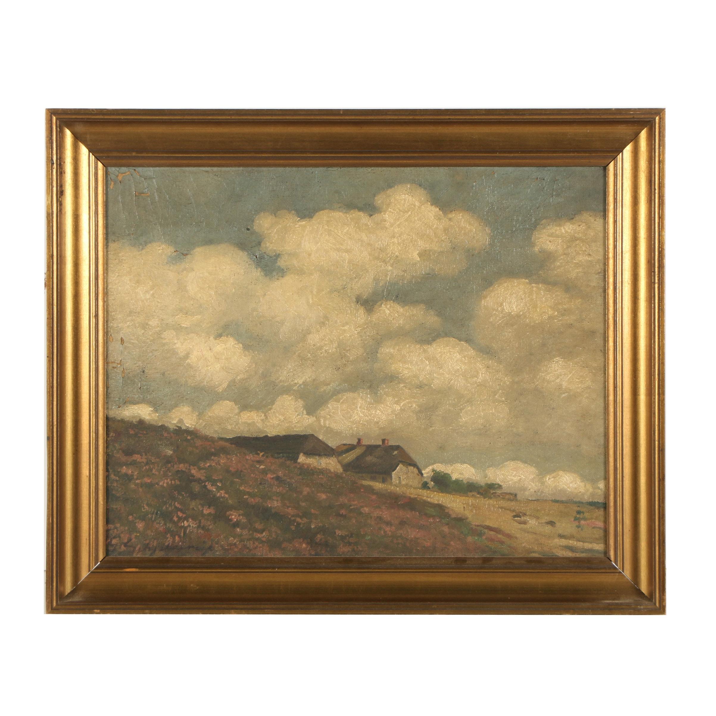 Lejs Schjelderup Oil Painting of a Bucolic Landscape