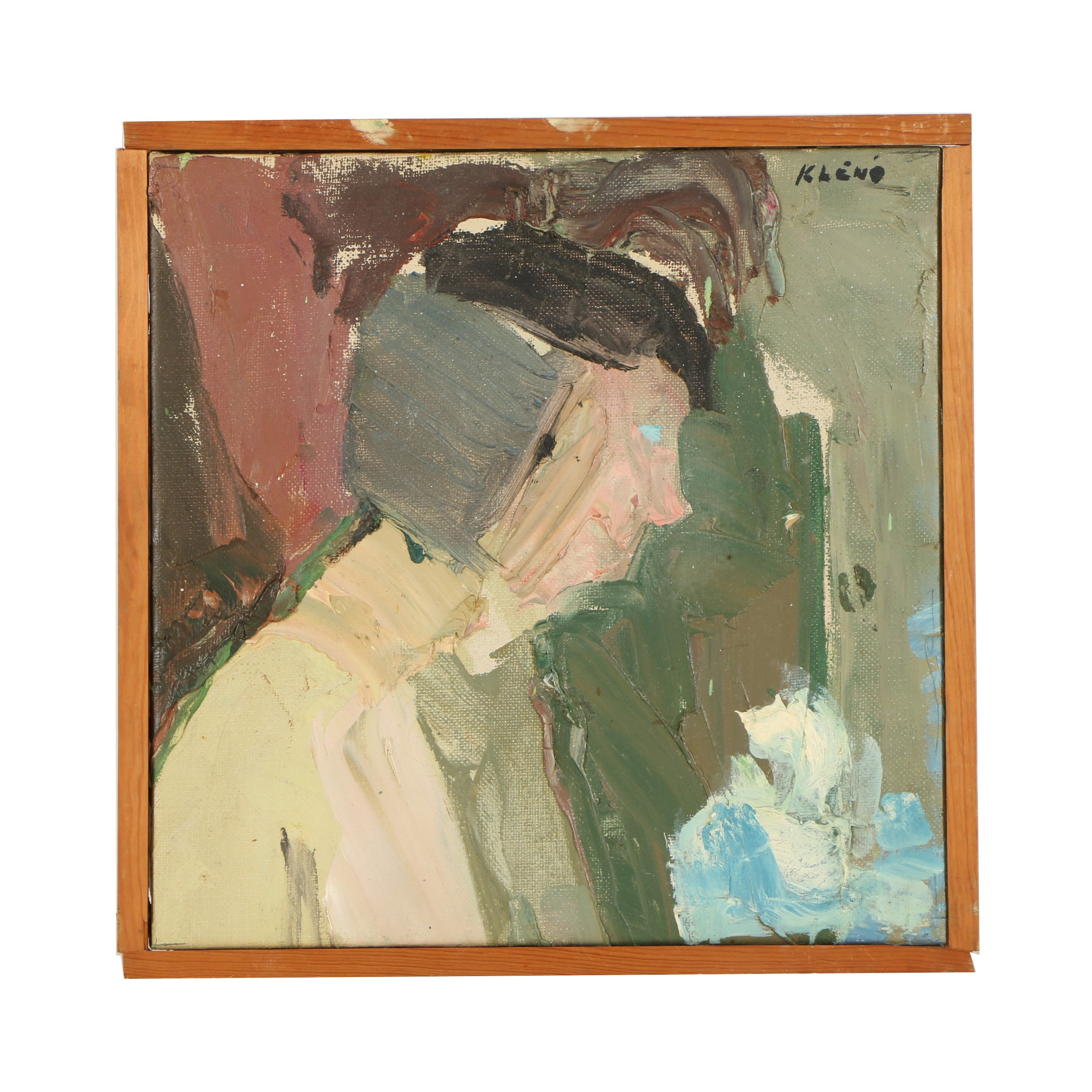 Eugenij Kleno (1921-2005) Abstract Figural Oil Painting