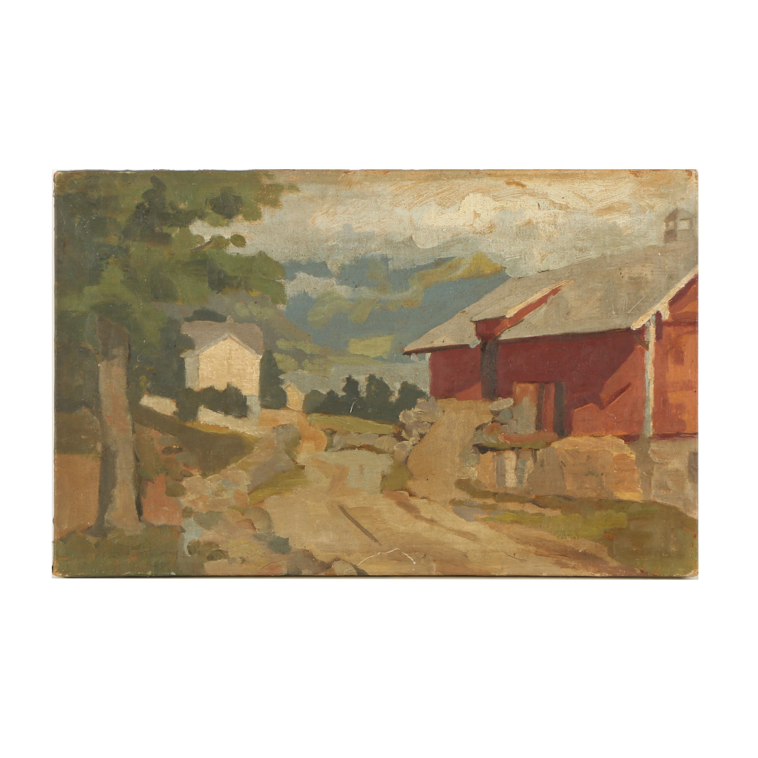Early 20th Century Oil Painting of Farm Landscape