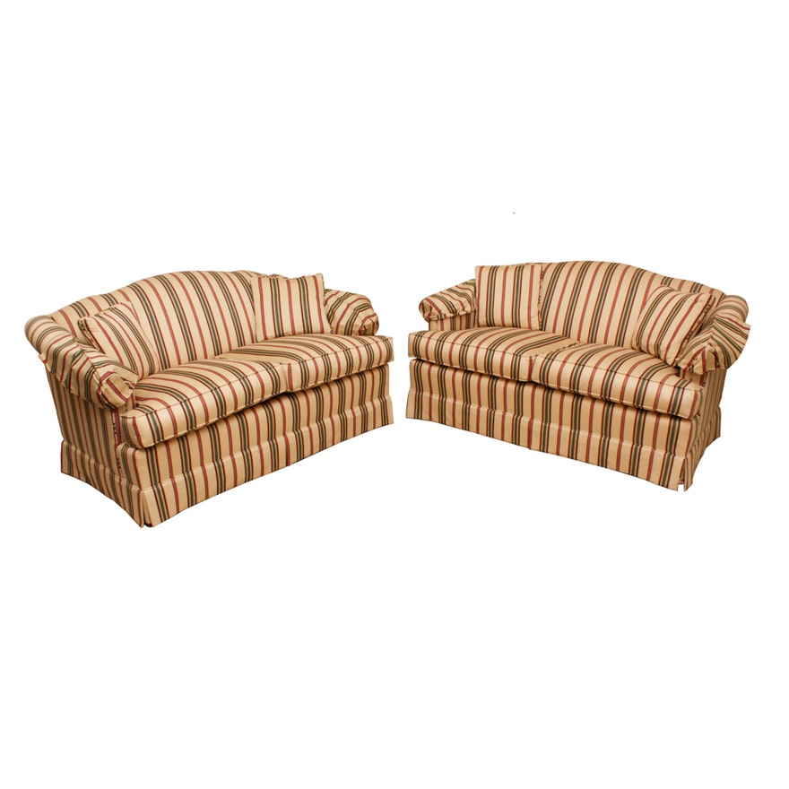 Ethan Allen Striped Upholstered Love Seats