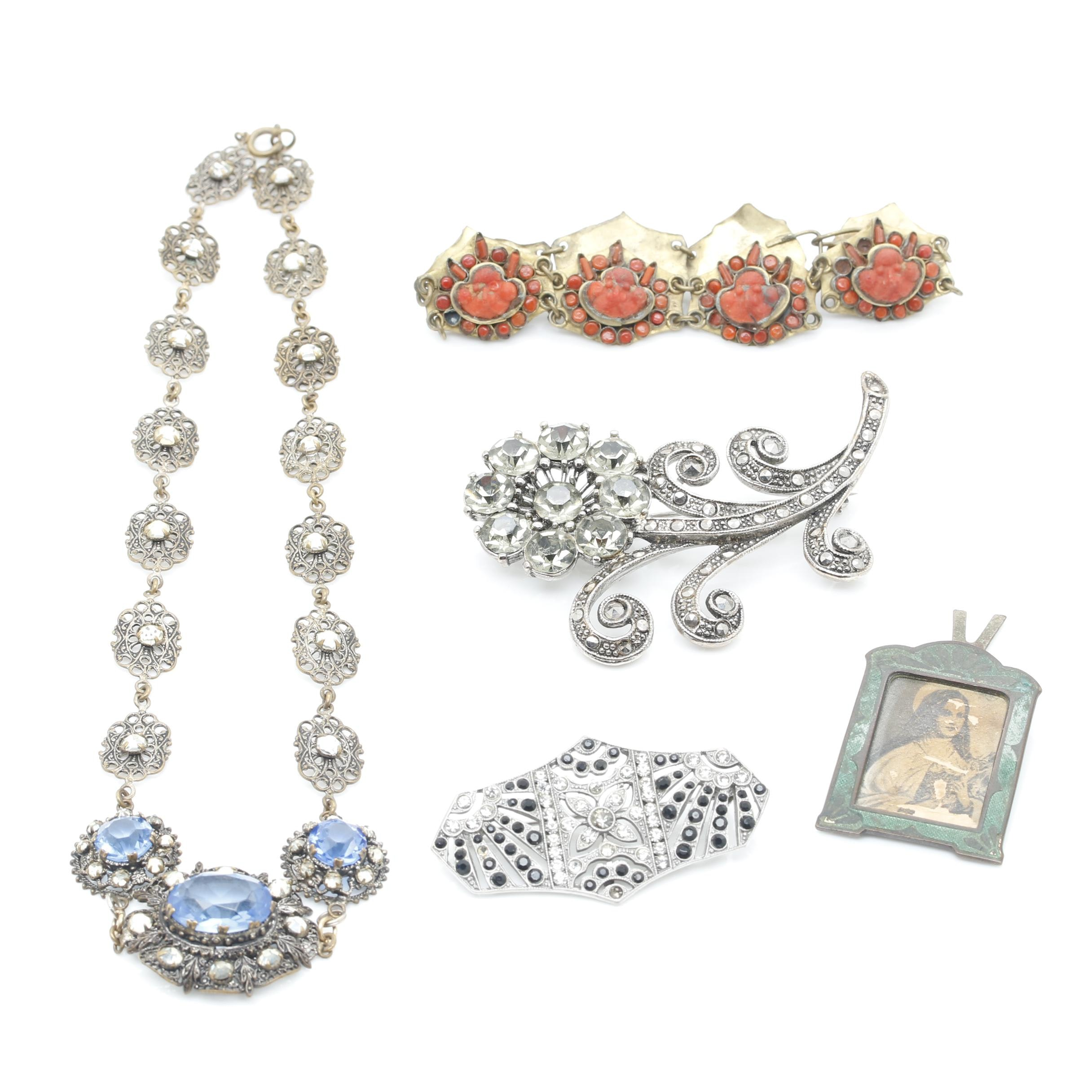 Costume Jewelry Selection Including Small Photo of a Nun
