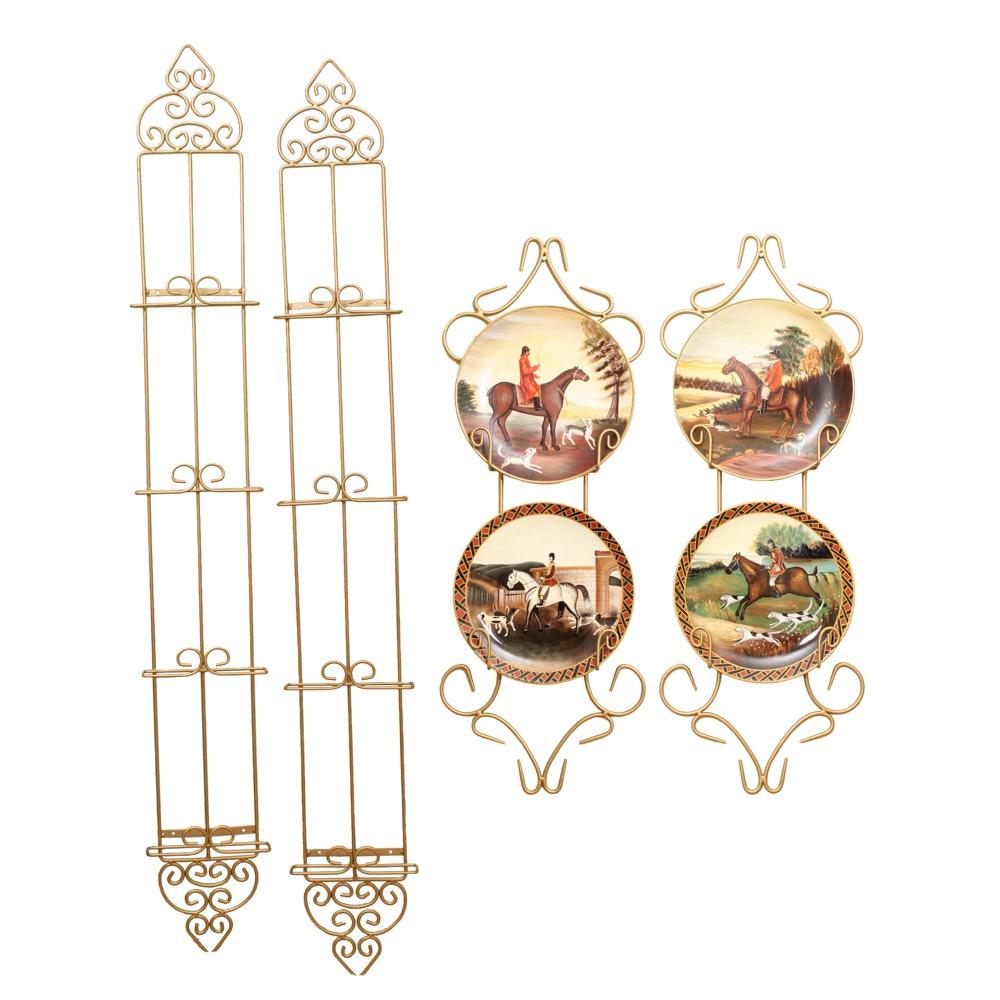 Gold Tone Decorative Plate Shelving Including Decorative Plates