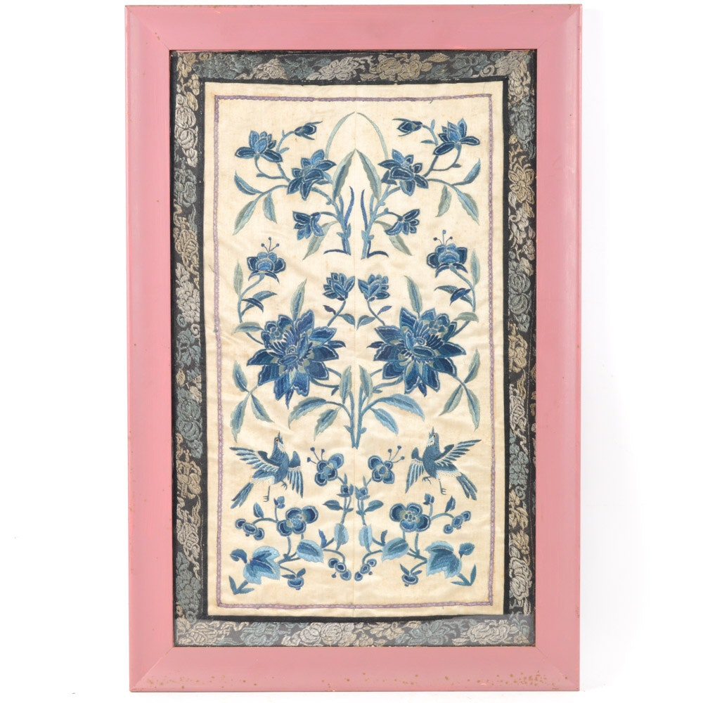 Vintage Chinese Embroidered Panel