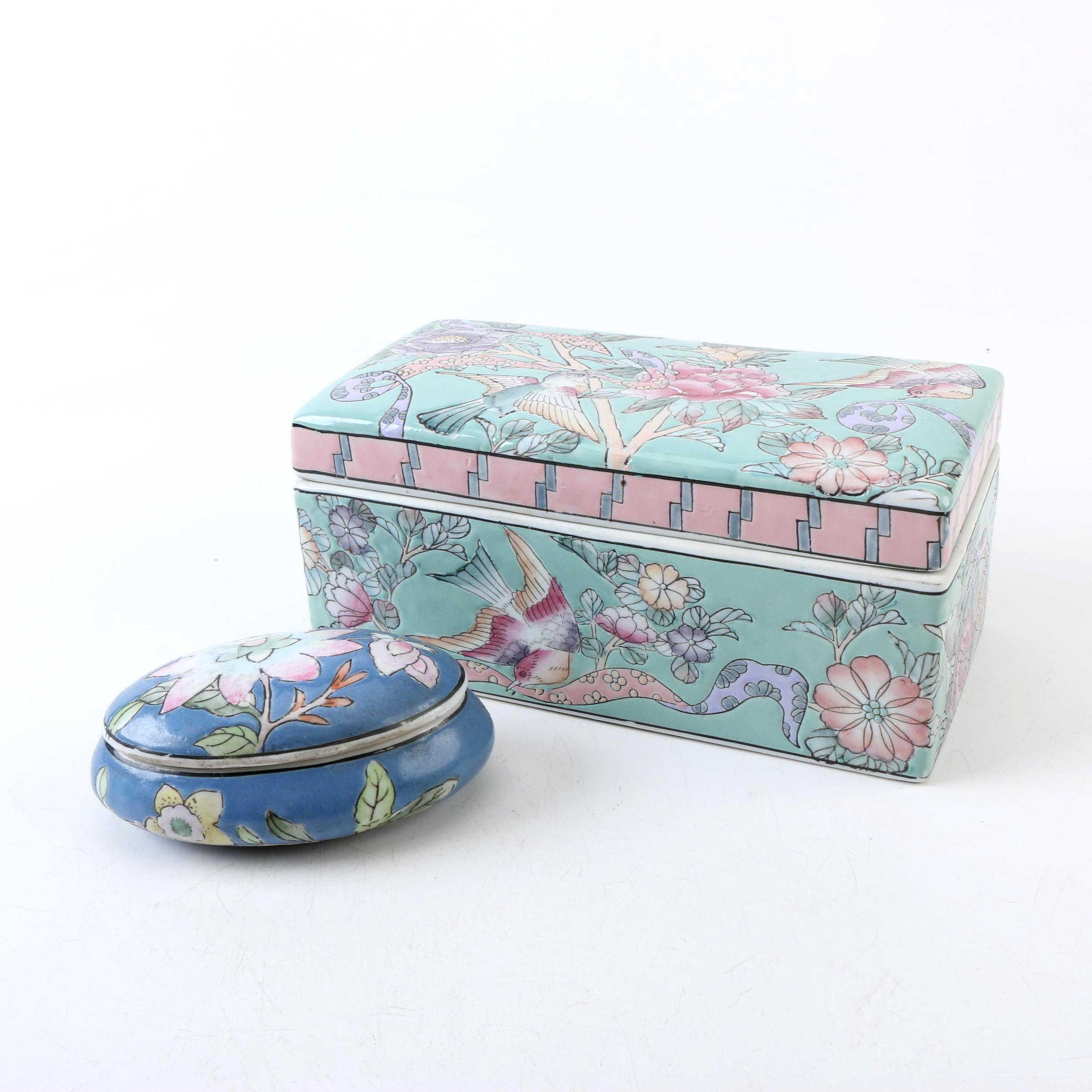 Vintage Chinese Enameled Ceramic Boxes