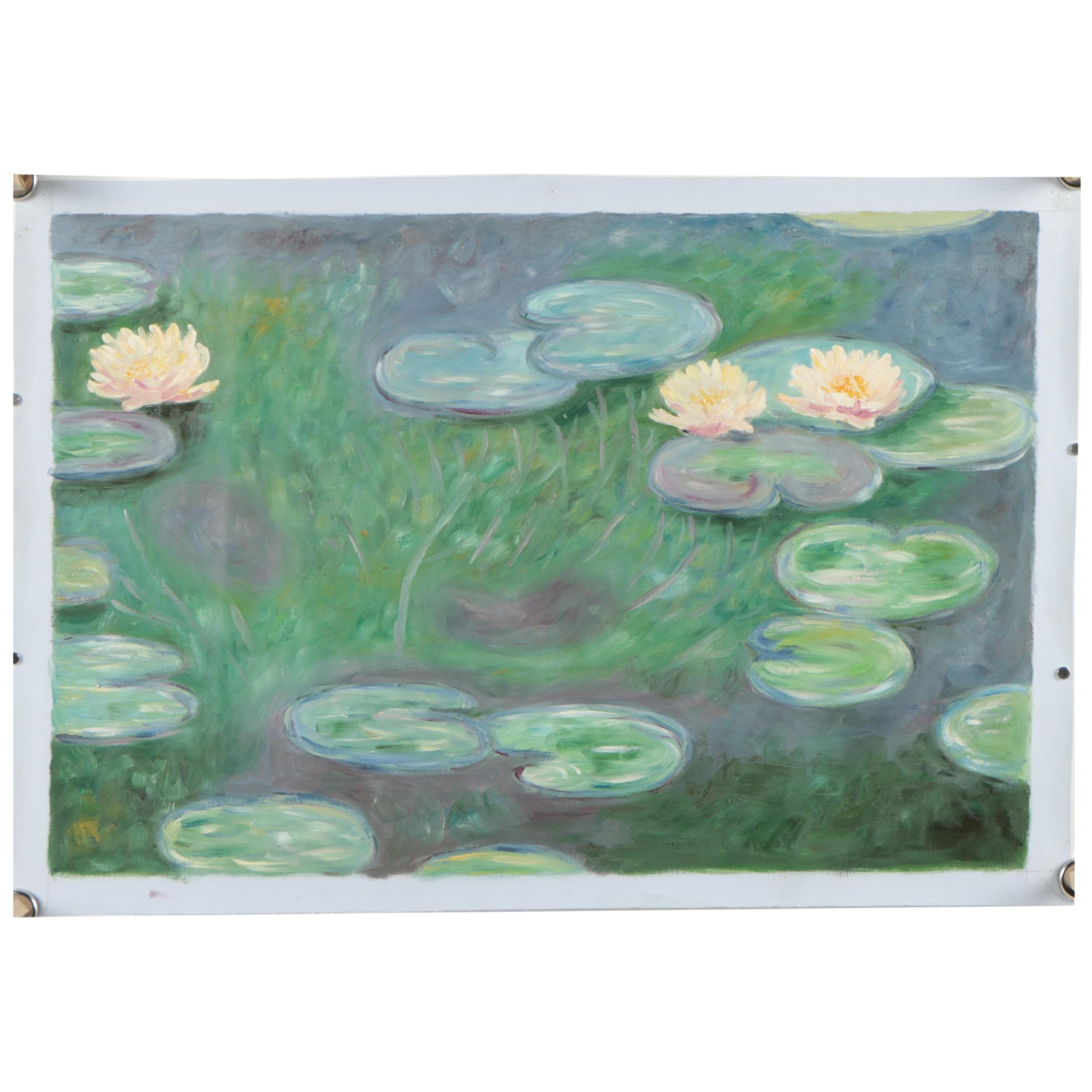 """Oil Copy Painting After Claude Monet """"Water Lilies"""""""