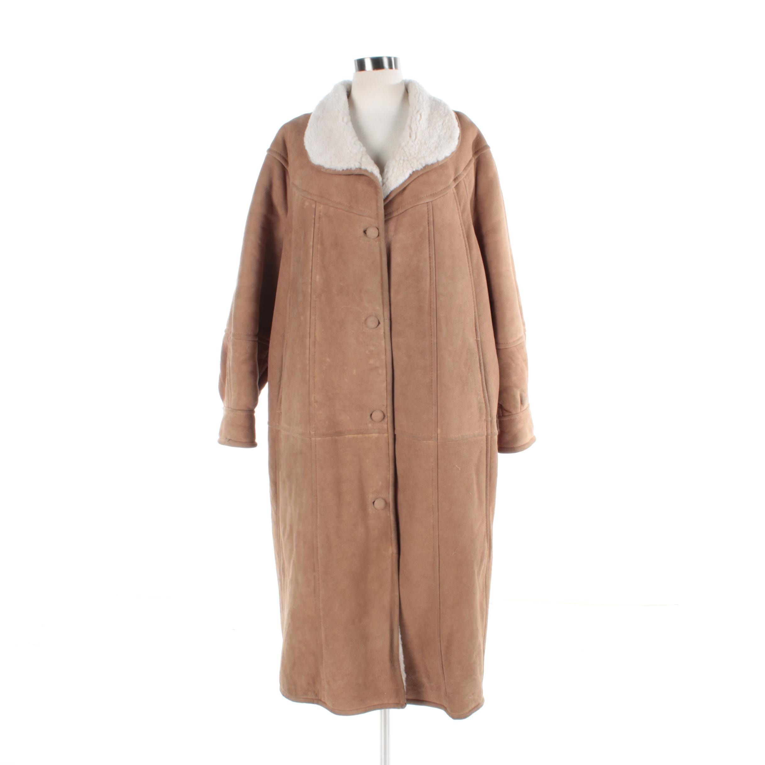 Women's Shearling Lined Suede Coat