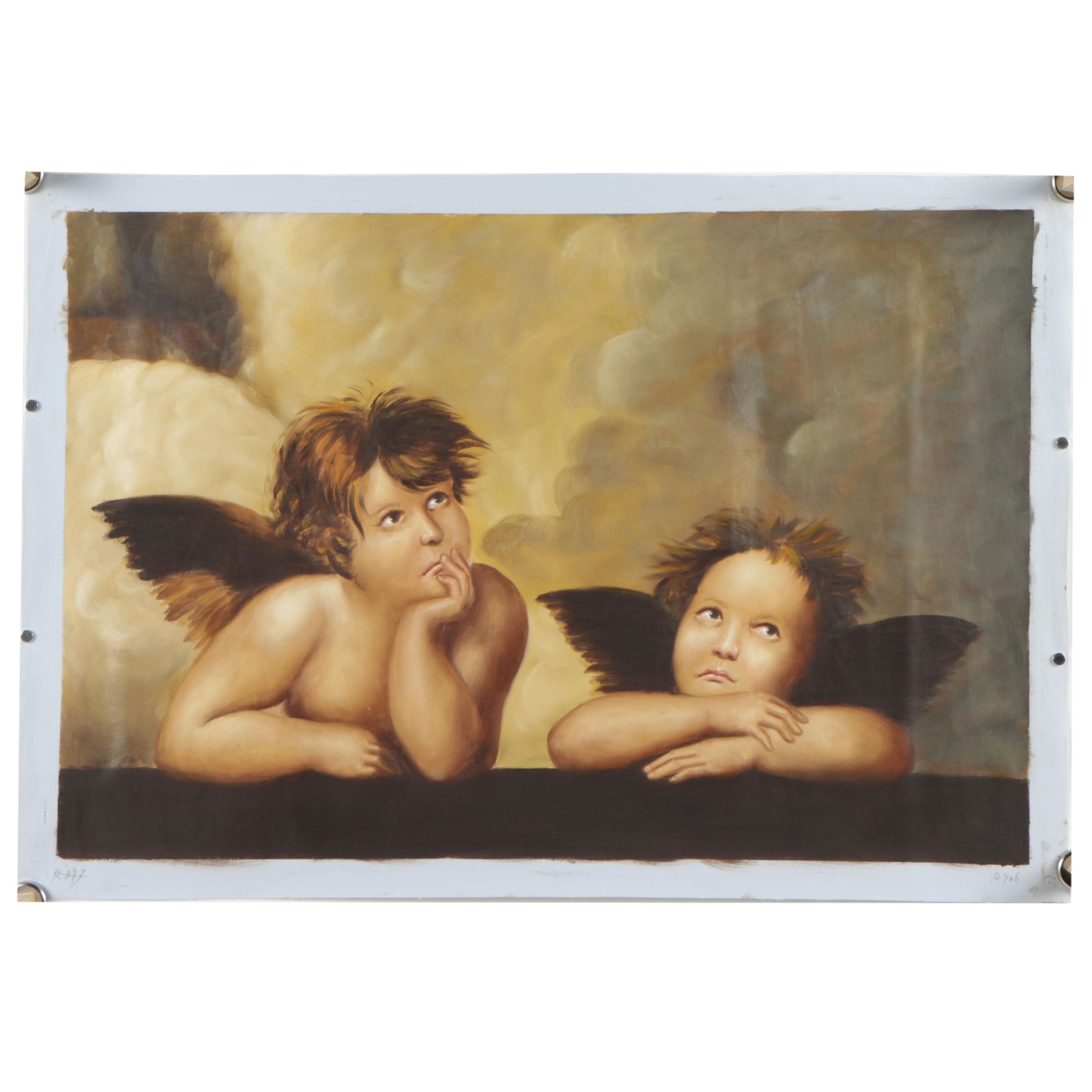 "Oil on Canvas Painting Copy of Raphael ""Sistine Madonna"""