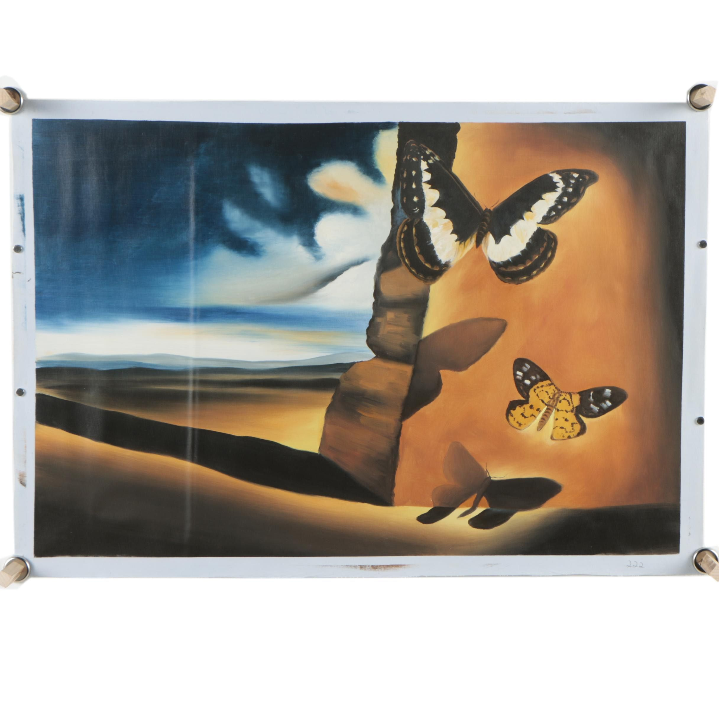 "Copy Oil Painting After Salvador Dali ""Landscape with Butterflies"""