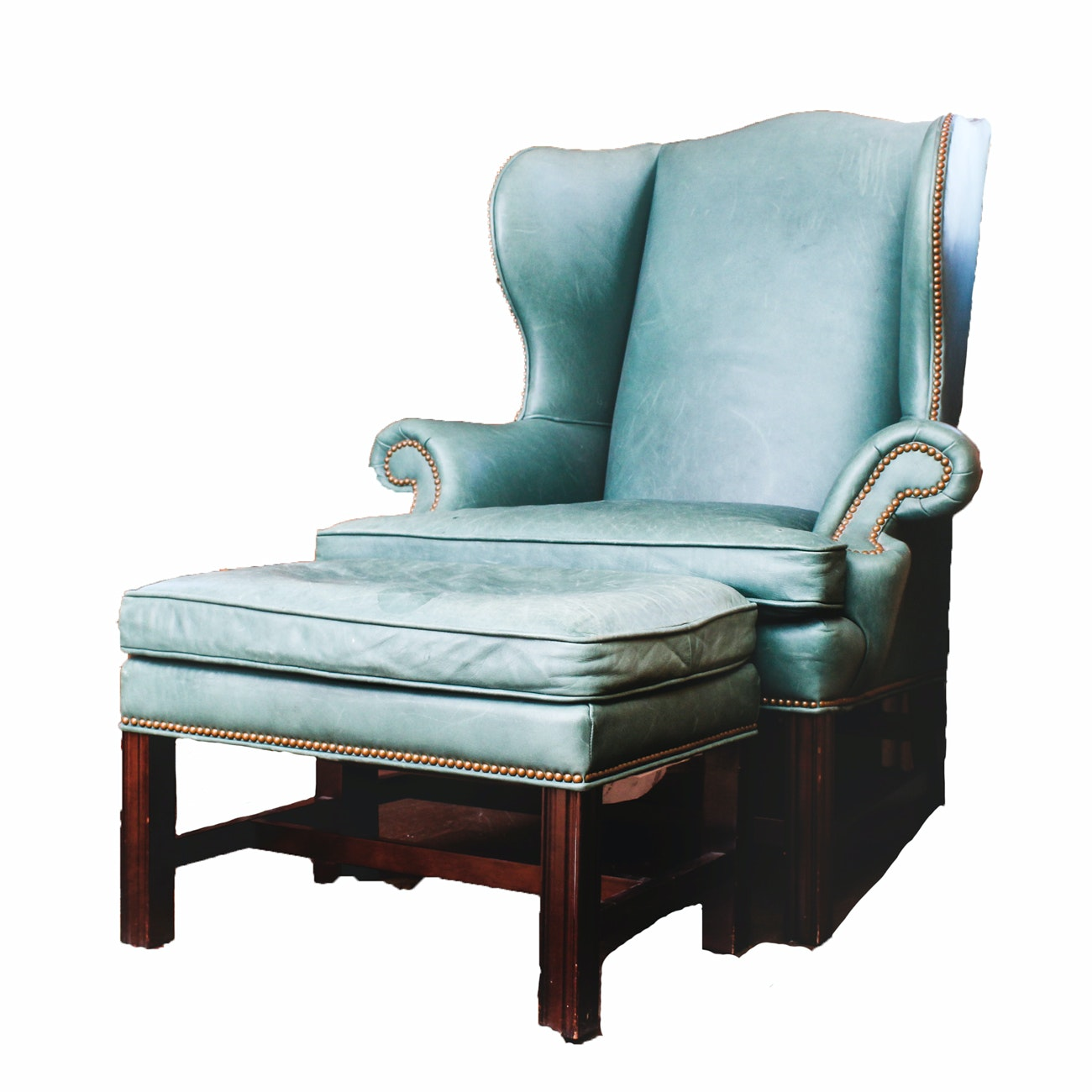 Leather Wingback Chair and Ottoman by Century Furniture