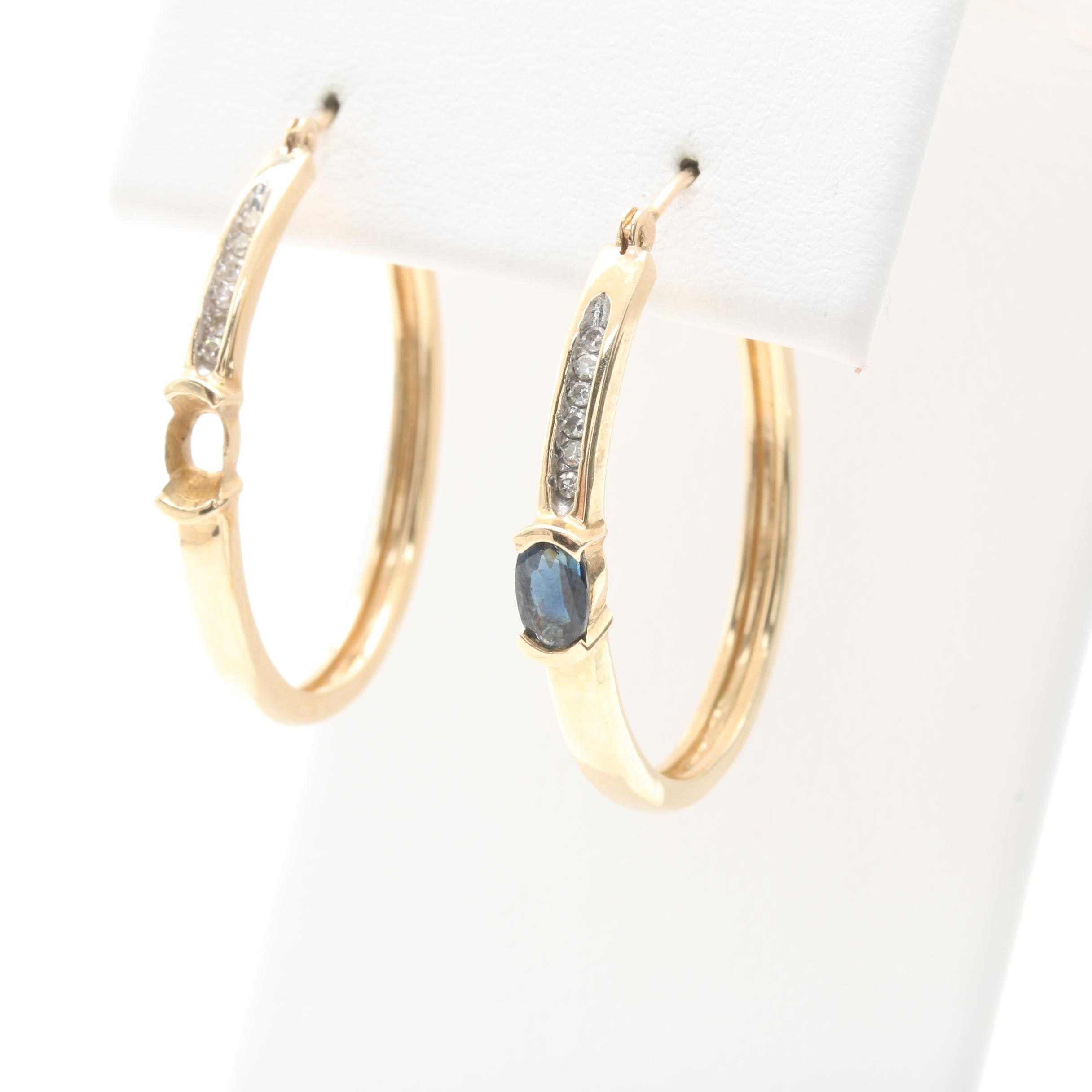 10K Yellow Gold Sapphire and Diamond Hoop Earrings