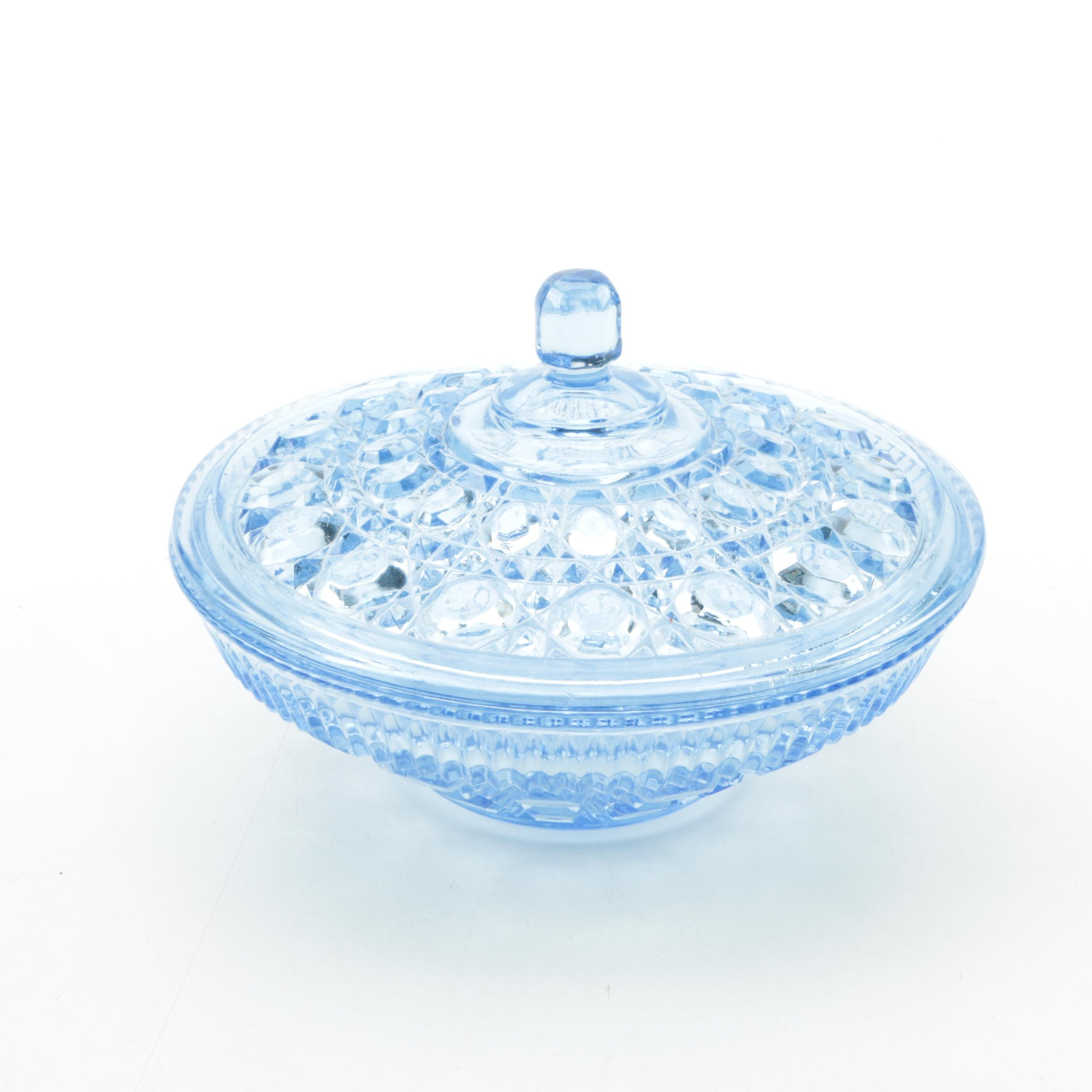Blue Pressed Glass Covered Dish