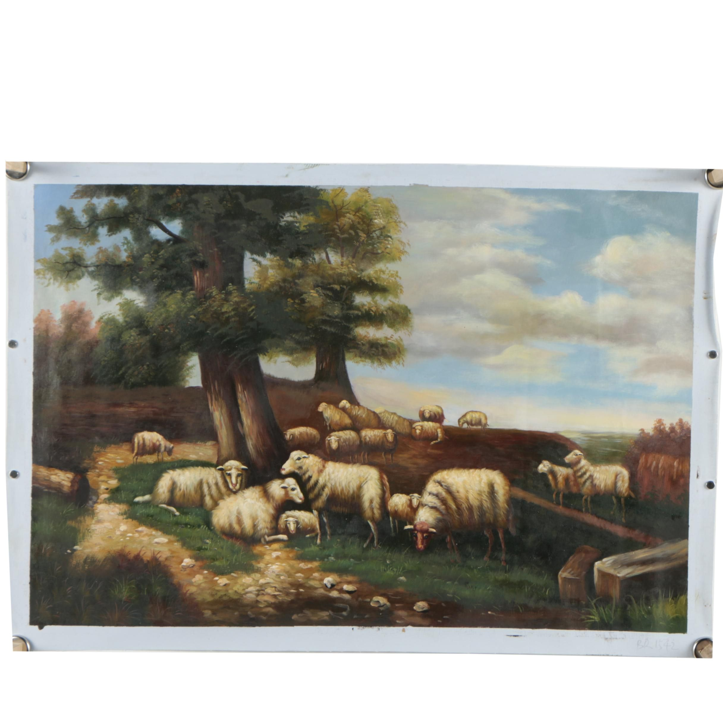 Oil on Canvas Painting of Pastoral Landscape with Sheep