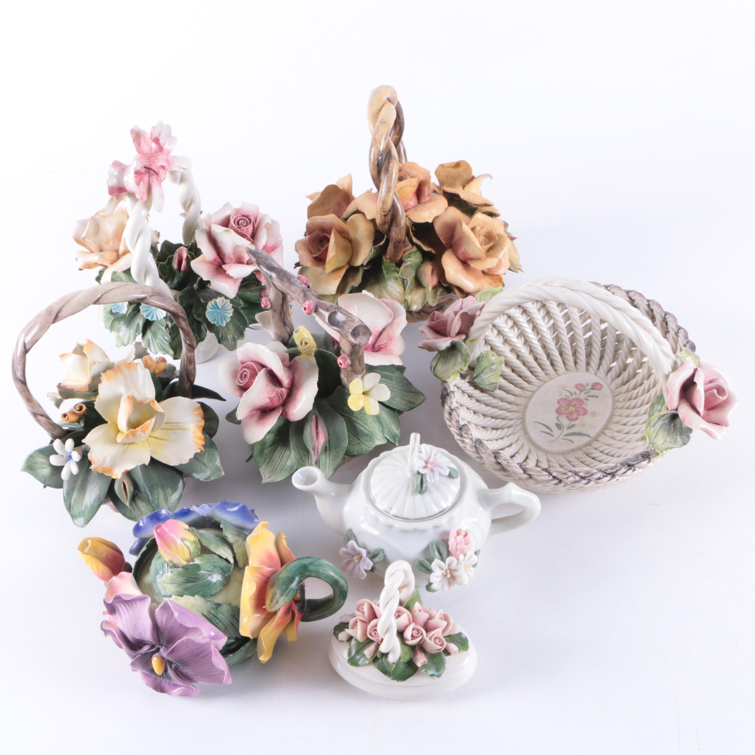 Porcelain Capodimonte Floral Bouquets and Serveware