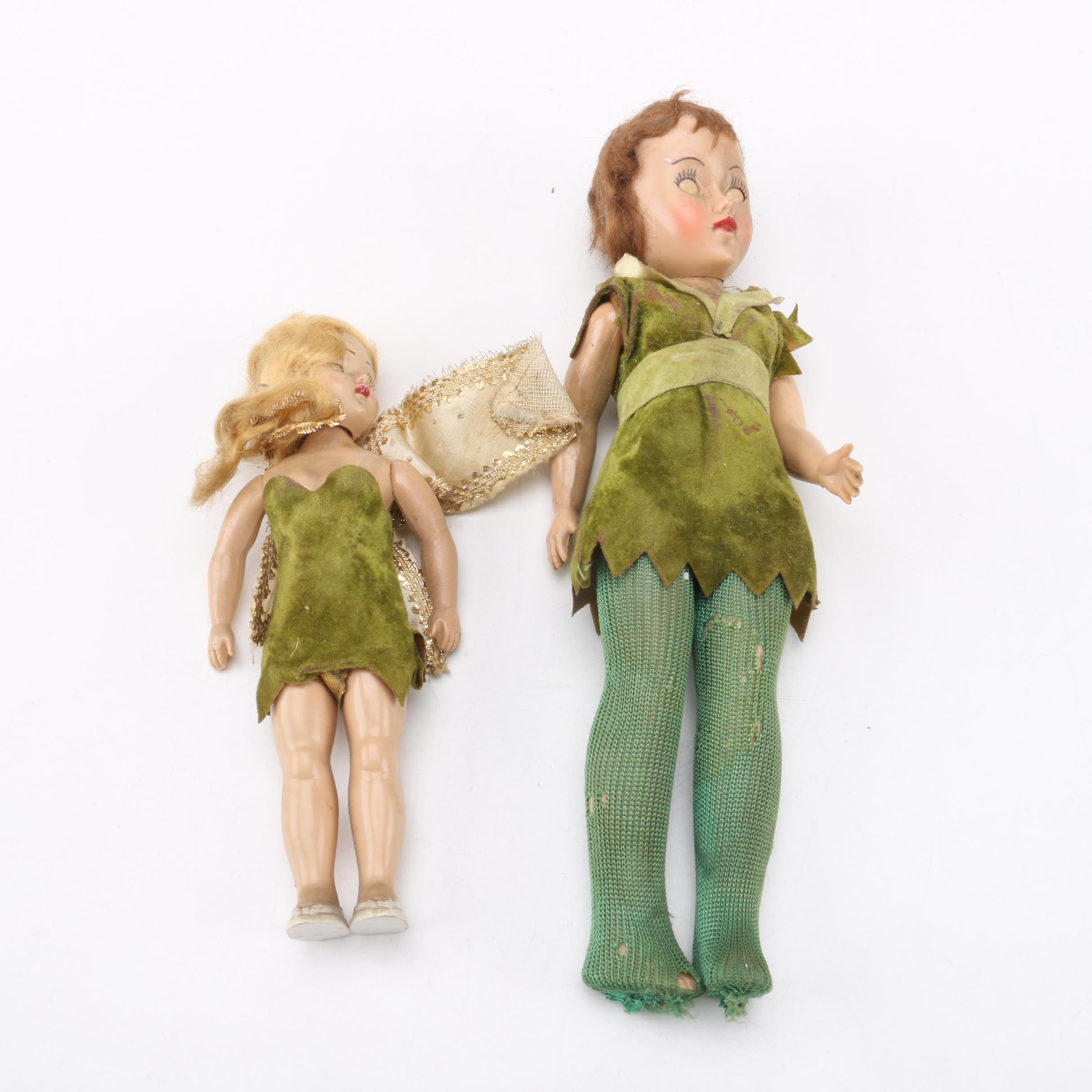 Peter Pan and Tinkerbell Dolls