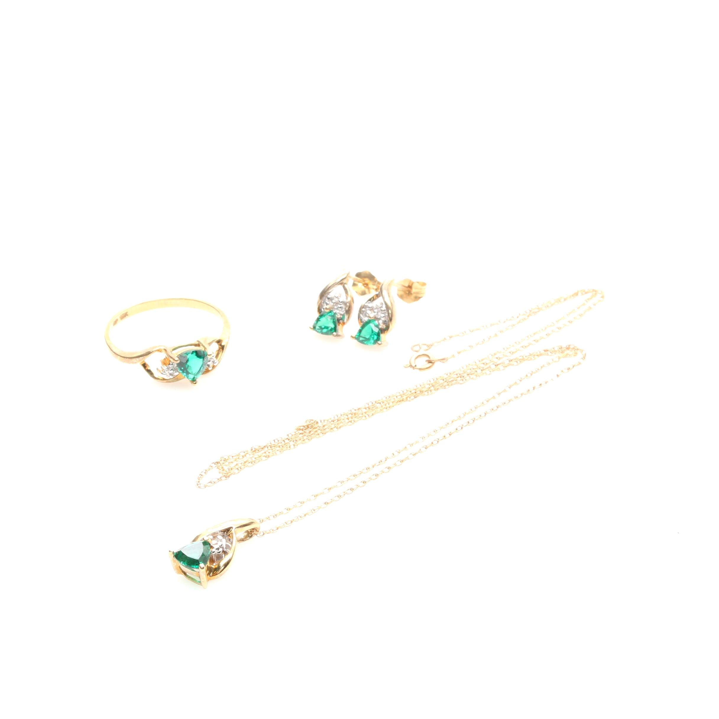 10K Yellow Gold Synthetic Emerald and Diamond Jewelry Suite