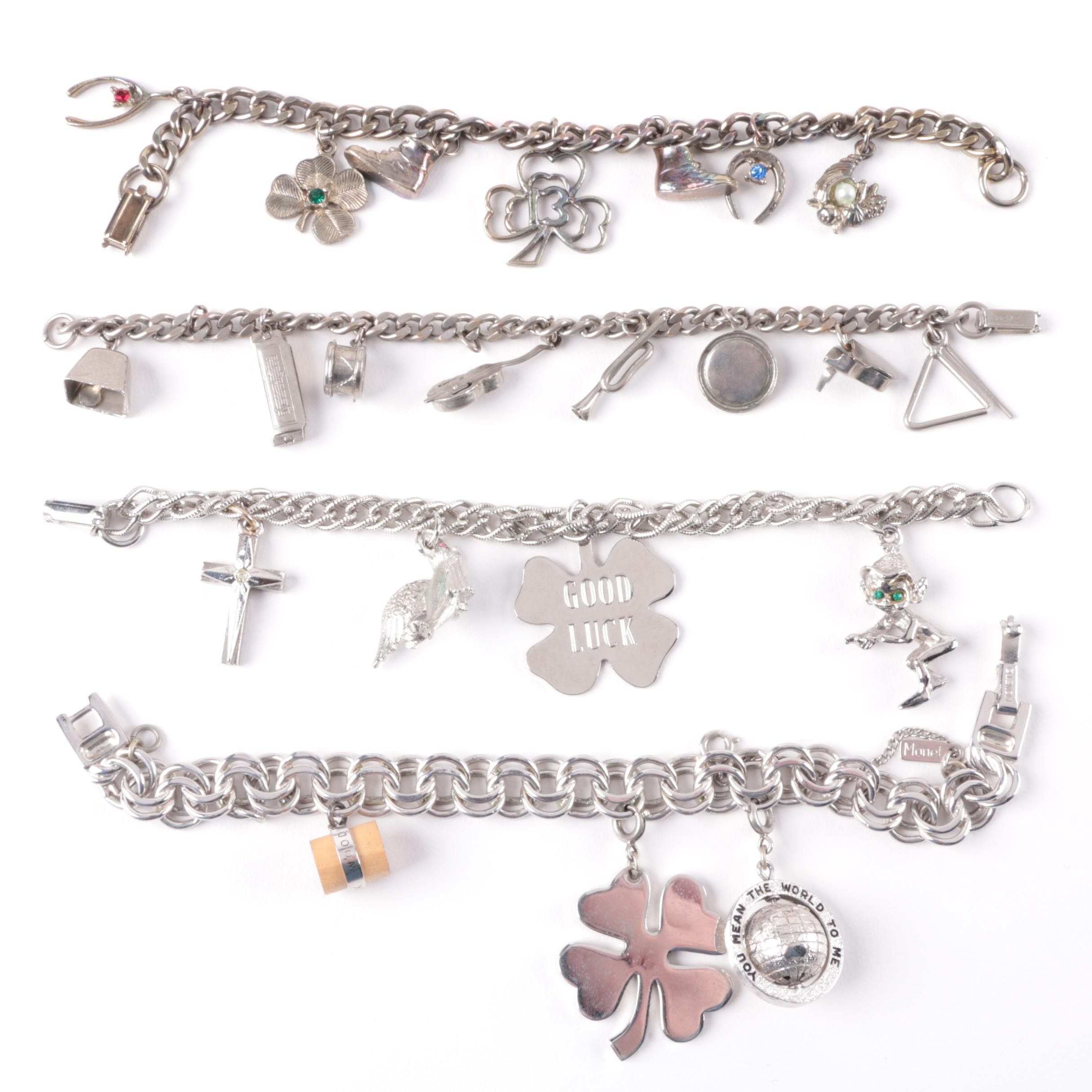 Collection of Silver Toned Charm Bracelets Including Imitation Pearl