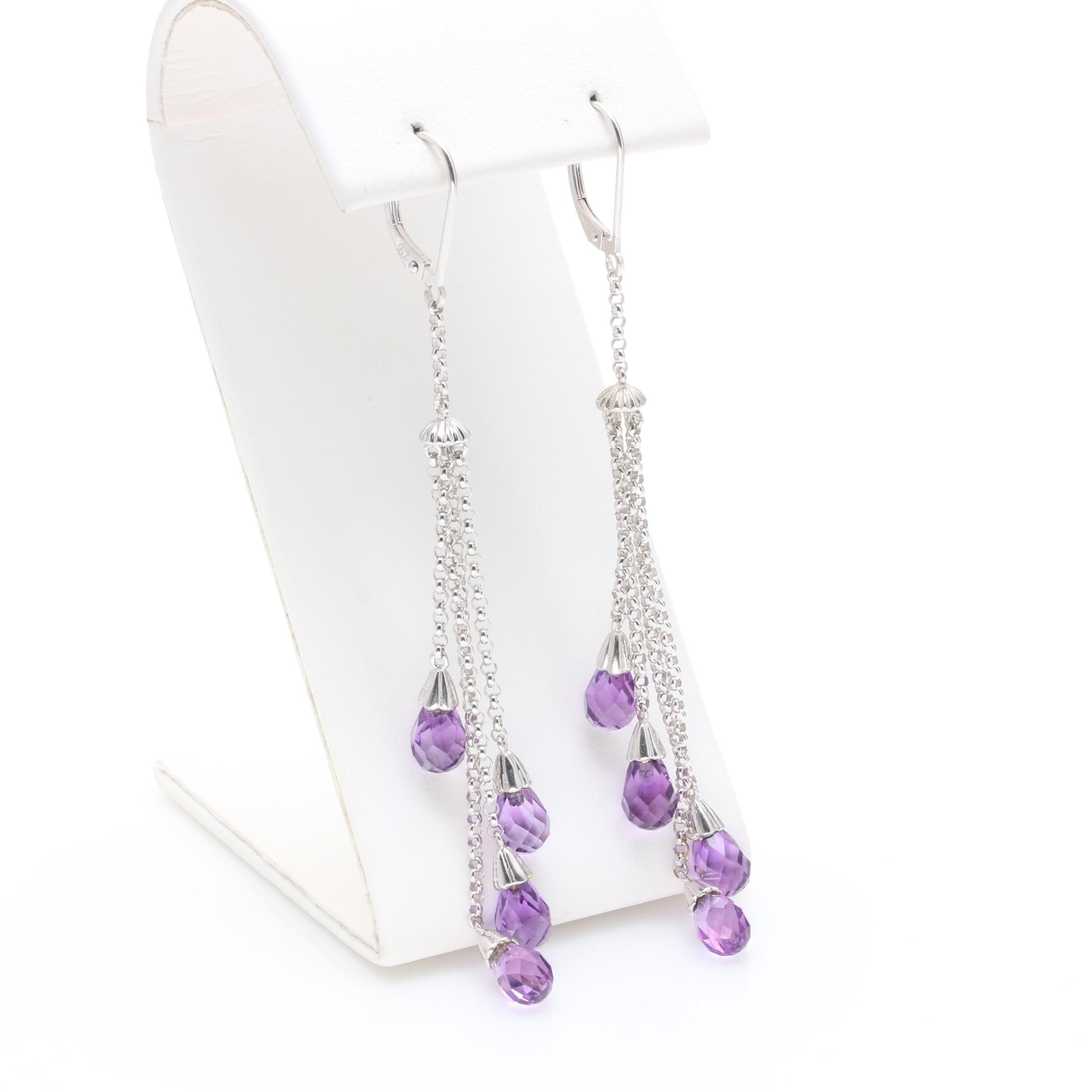 10K White Gold Amethyst Drop Earrings