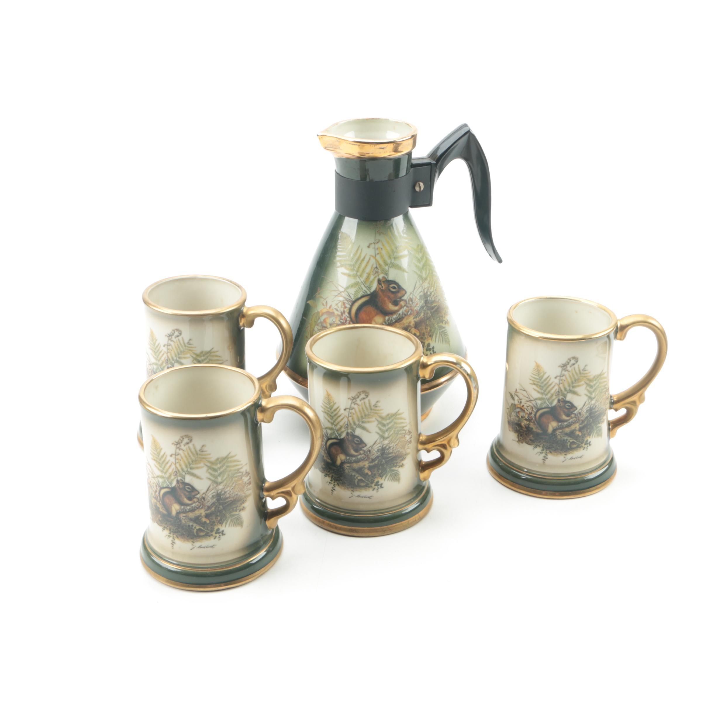 "Vintage Jim Beam ""Chipmunk"" Ceramic Carafe and Mugs"