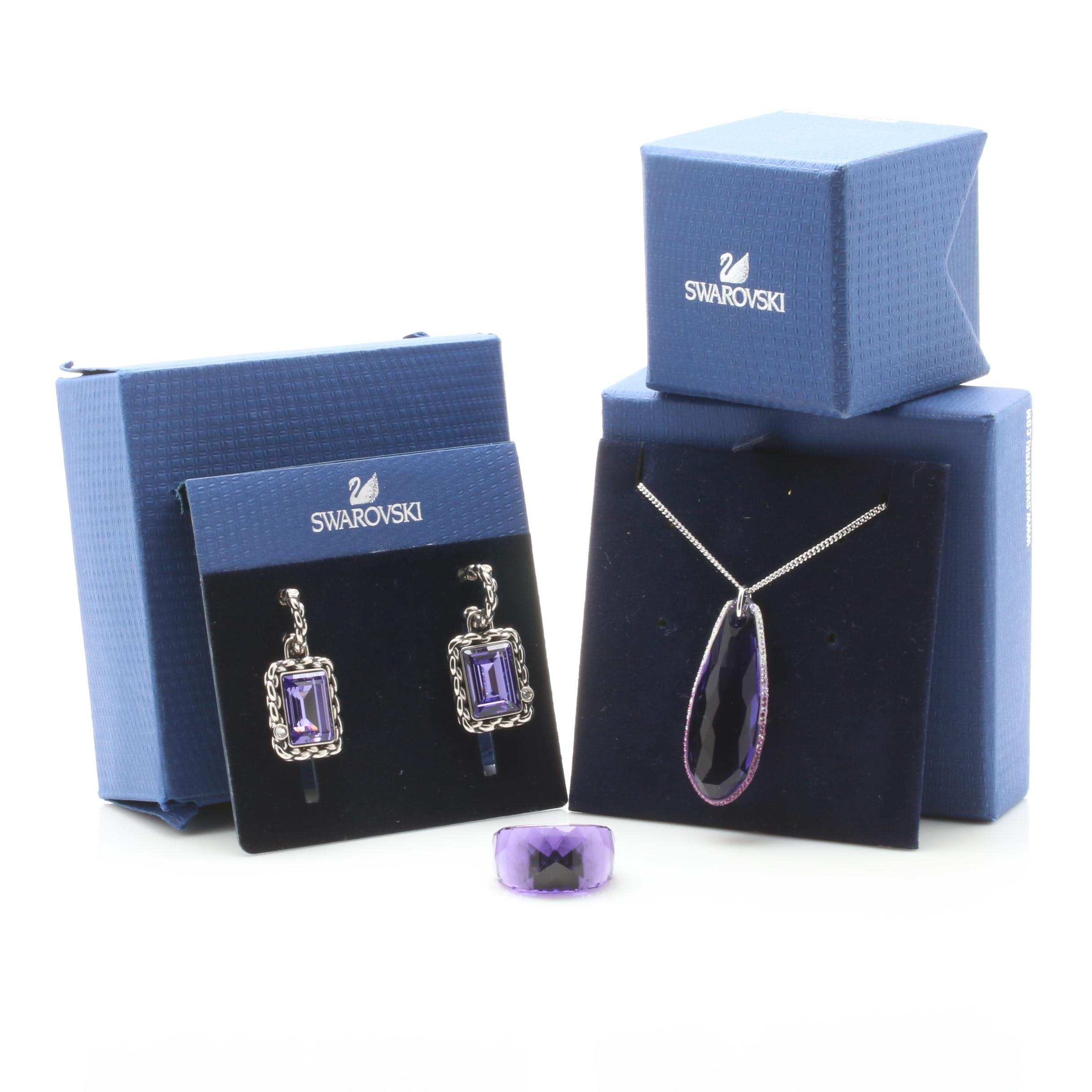 Swarovski Purple Crystal Ring, Earring, and Necklace Selection