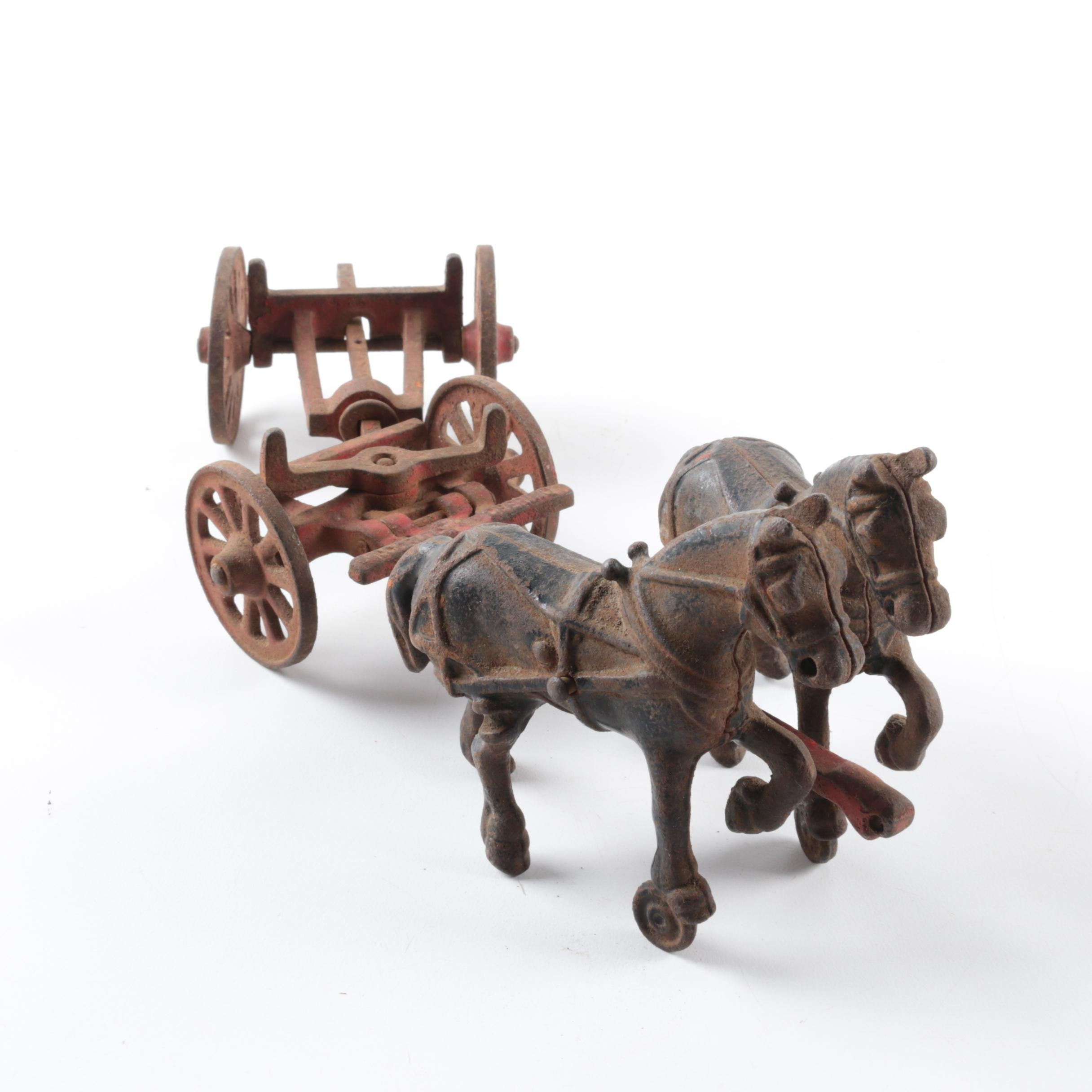 Cast Iron Horses and Carriage