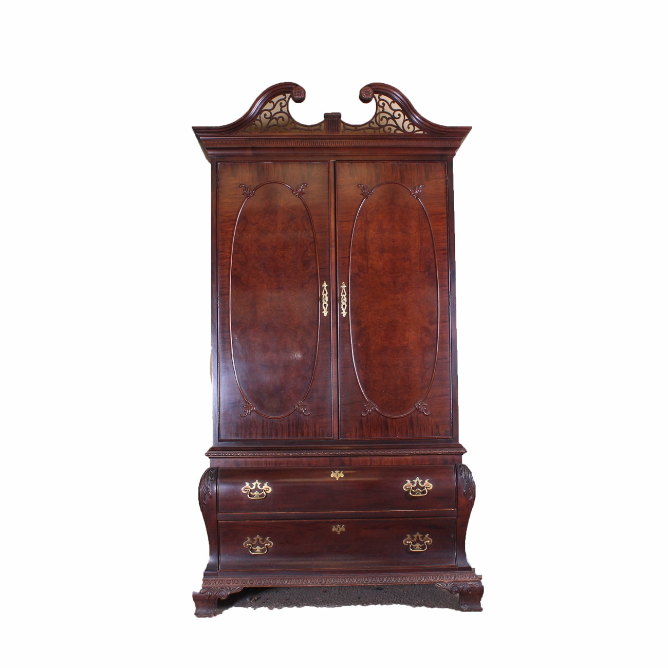 Large Wardrobe Armoire with Bombe Chest Base by Century Furniture
