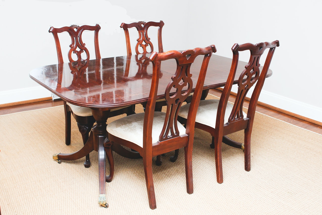 Chippendale-Style Extension Table and Chairs by Century Furniture