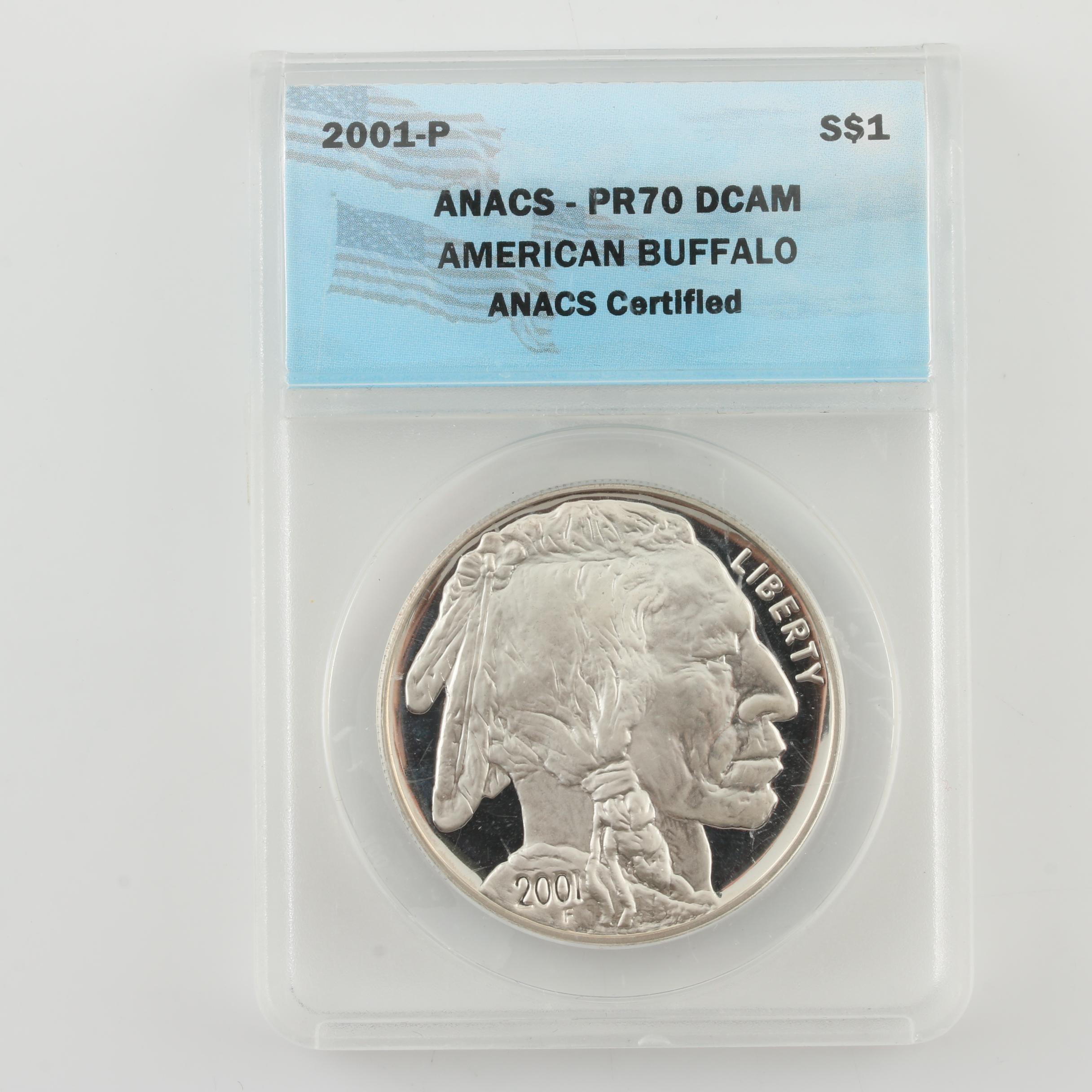 ANACS Graded PR70 DCAM U.S. American Buffalo Silver Dollar Proof Coin