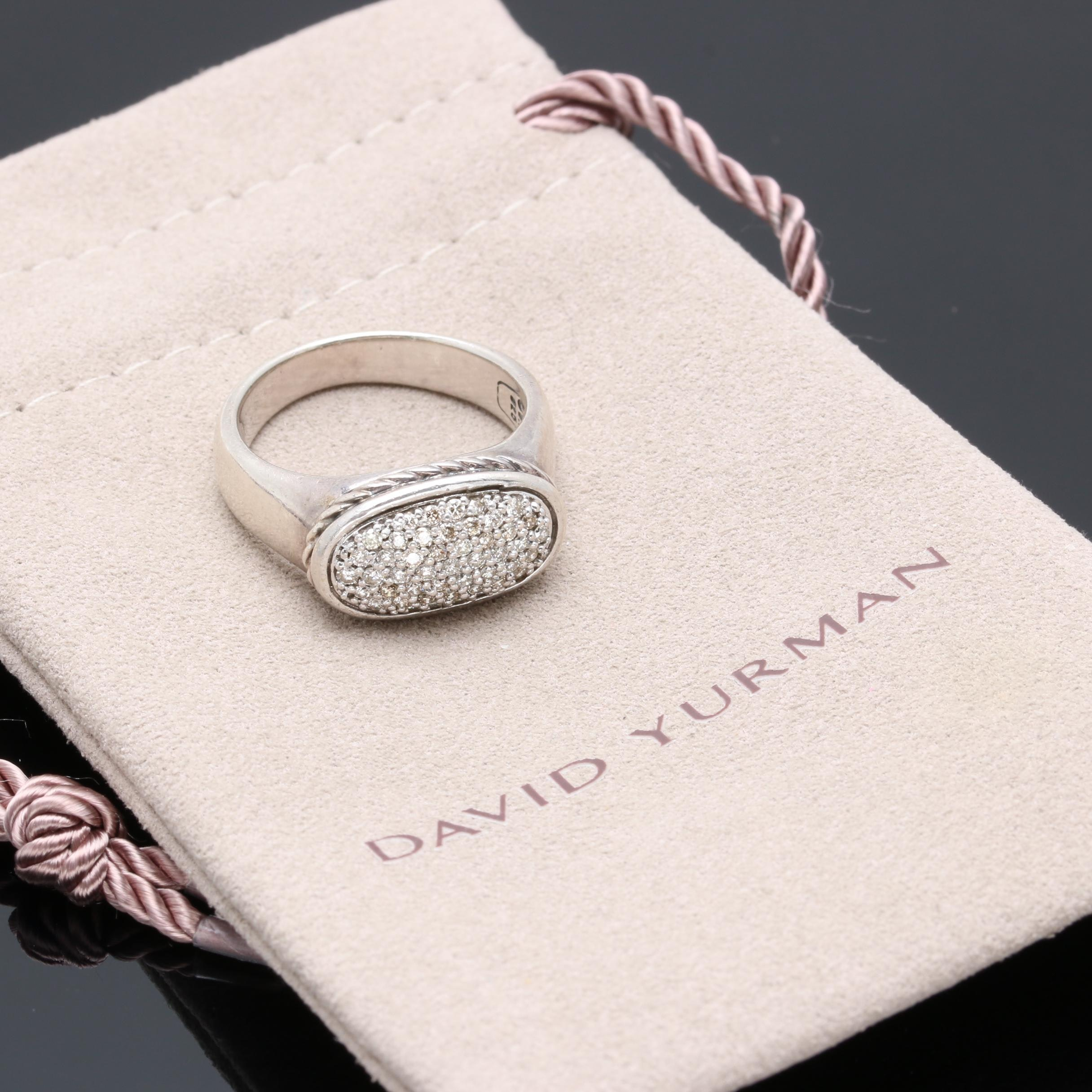 David Yurman Sterling Silver Diamond Ring