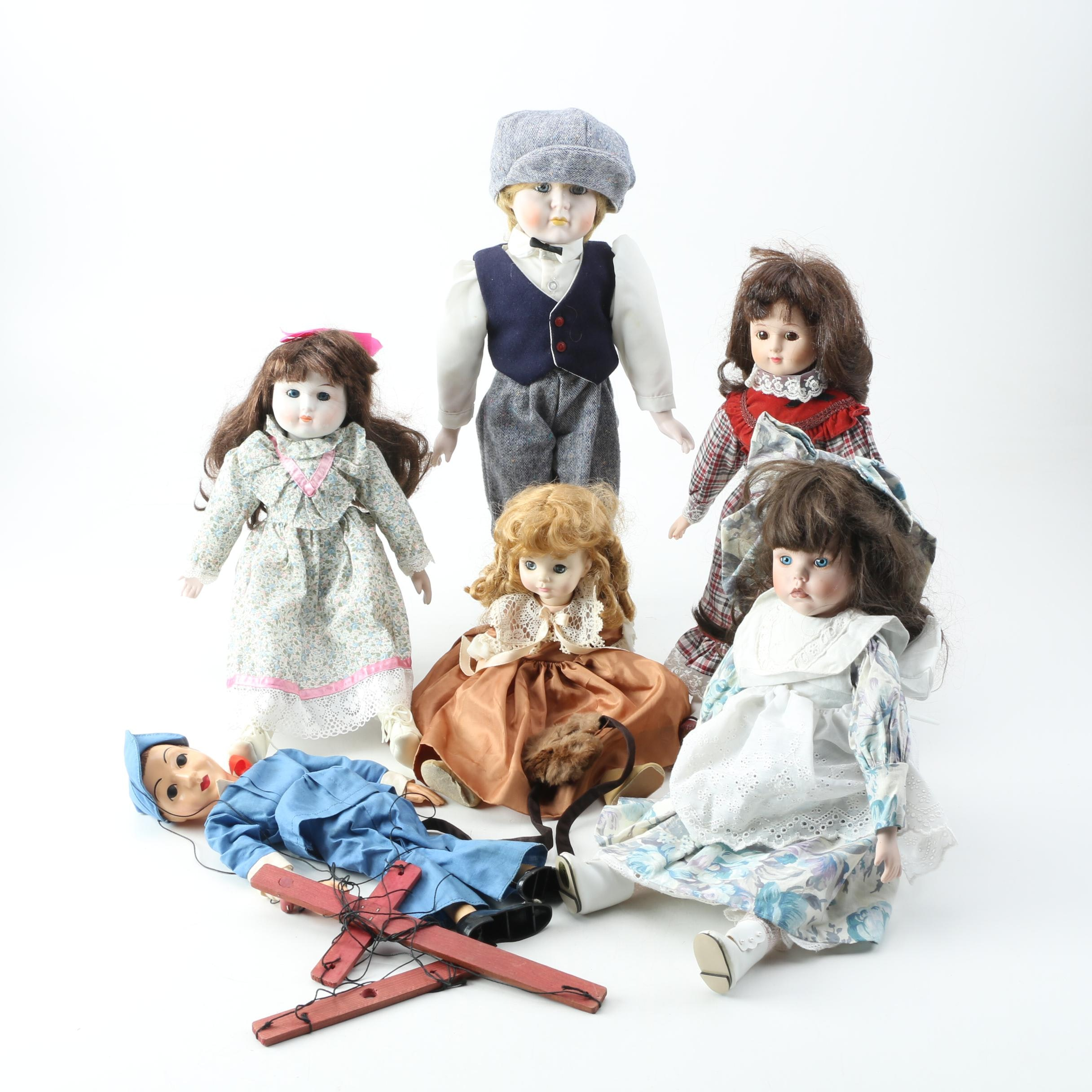 Vintage Marionette and Porcelain Dolls