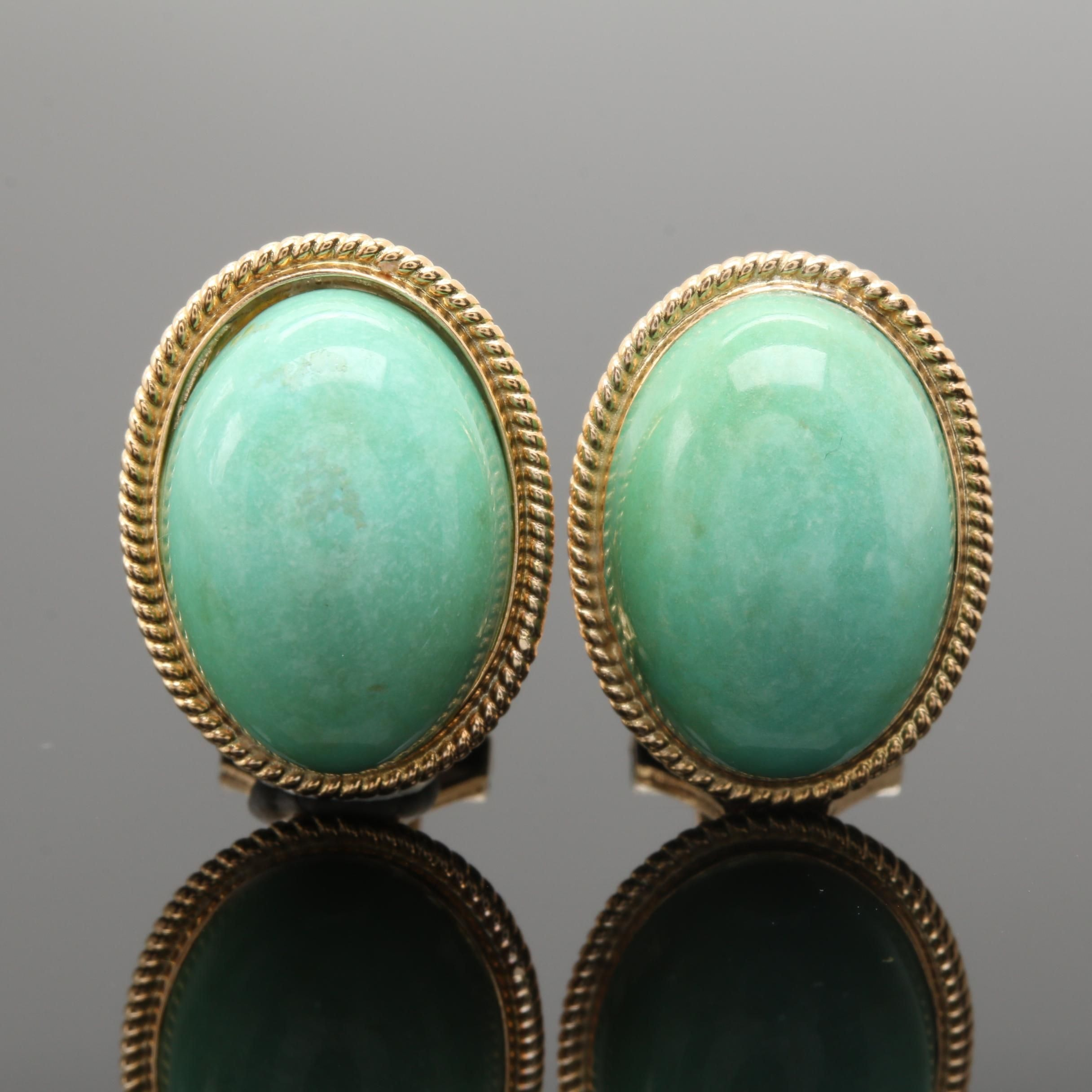 14K Yellow Gold Green Turquoise Omega Earrings
