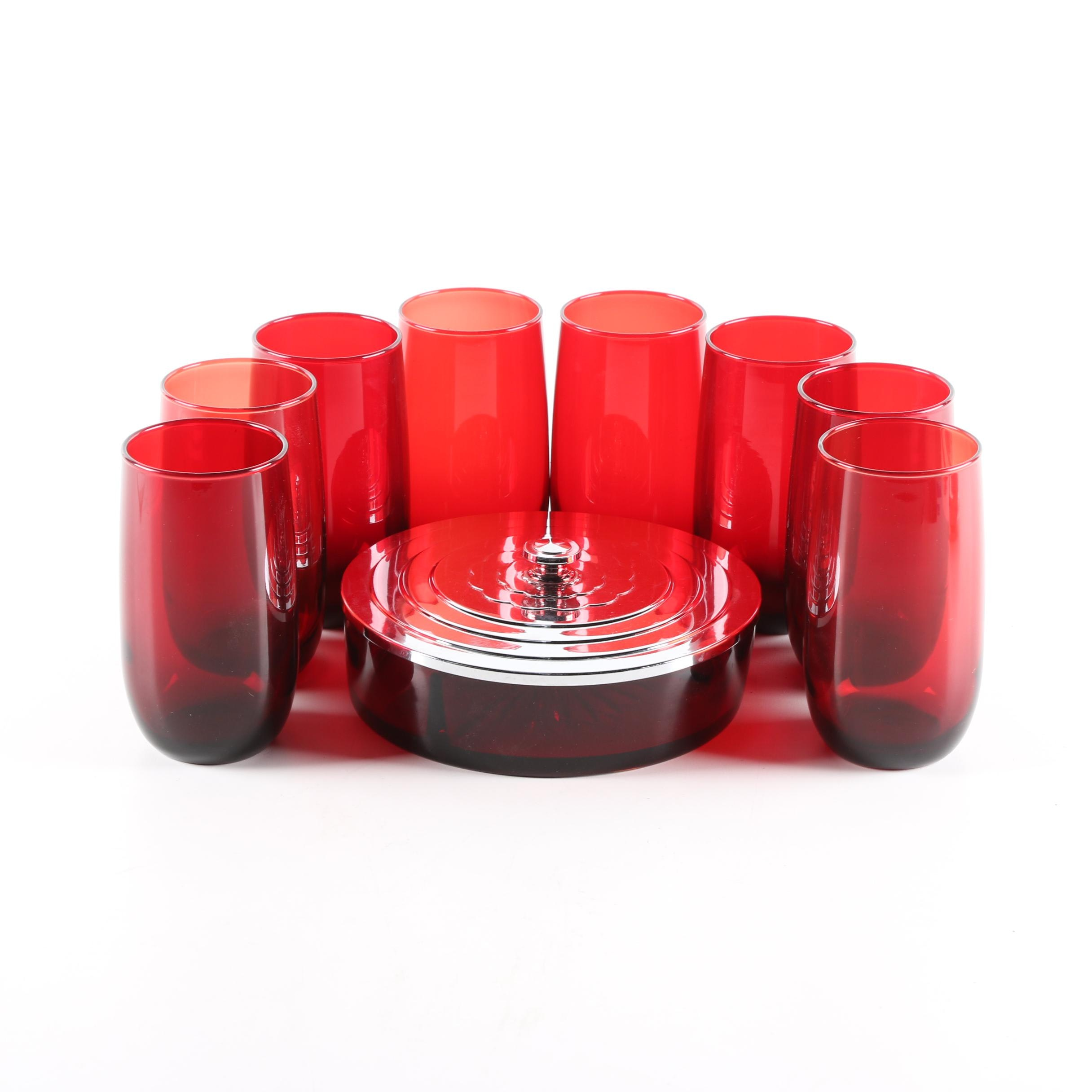 """Vintage Anchor Hocking """"Roly Poly Royal Ruby"""" Glass Tumblers"""