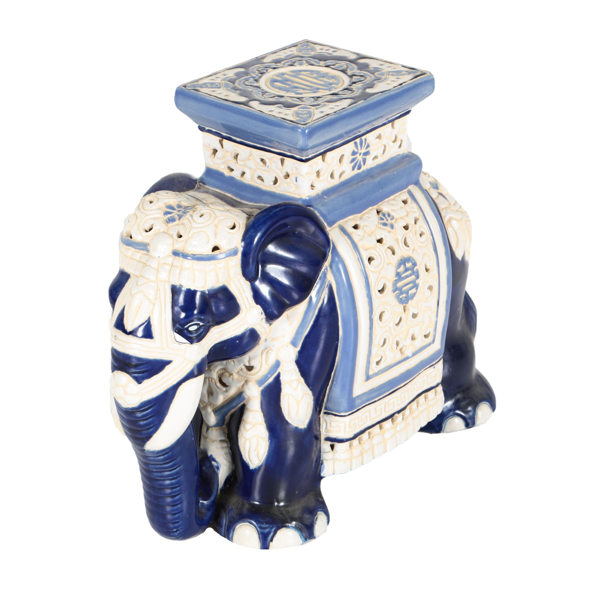 Blue and White Ceramic Elephant Plant Stand Stool