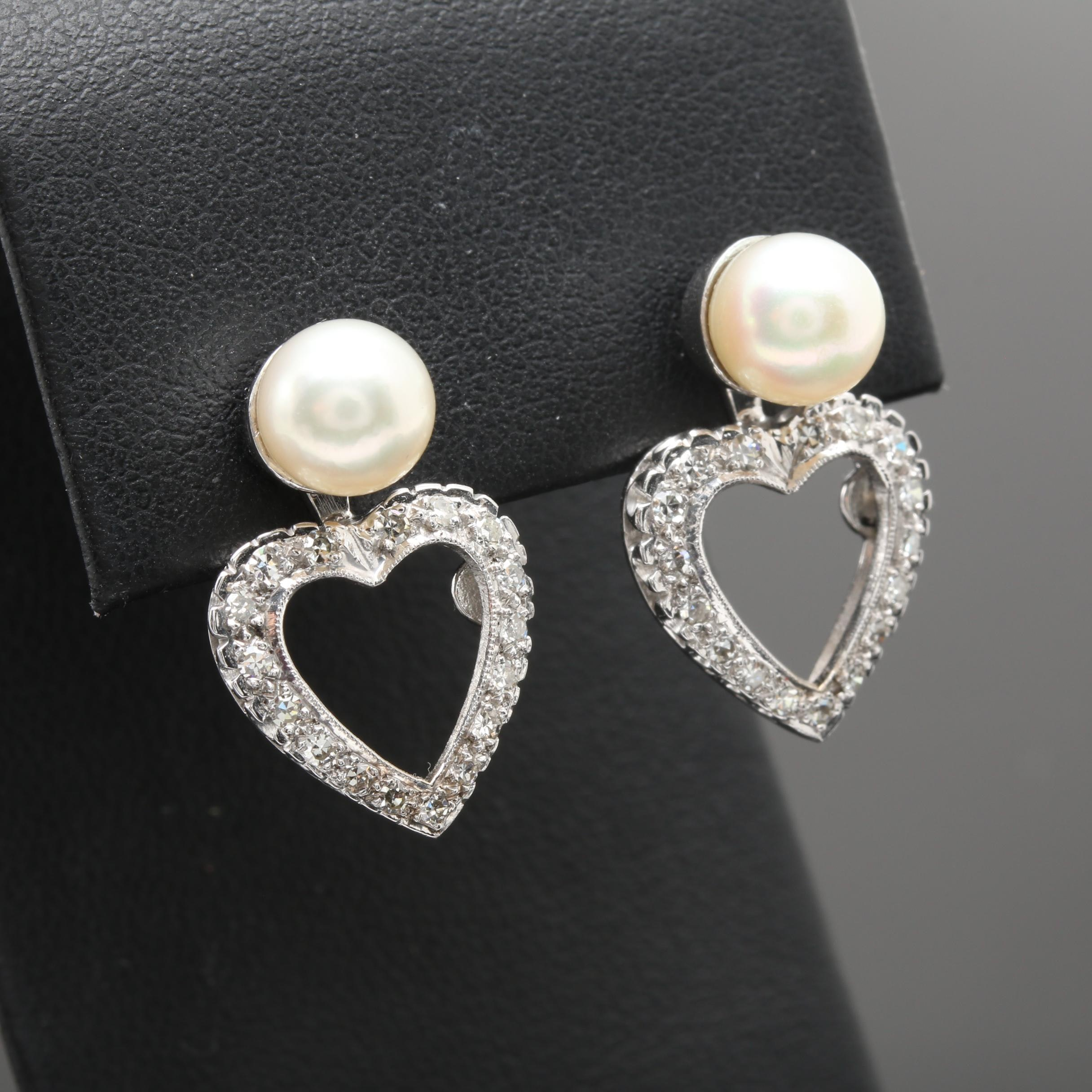 14K White Gold Cultured Pearl and Diamond Heart Dangle Earrings