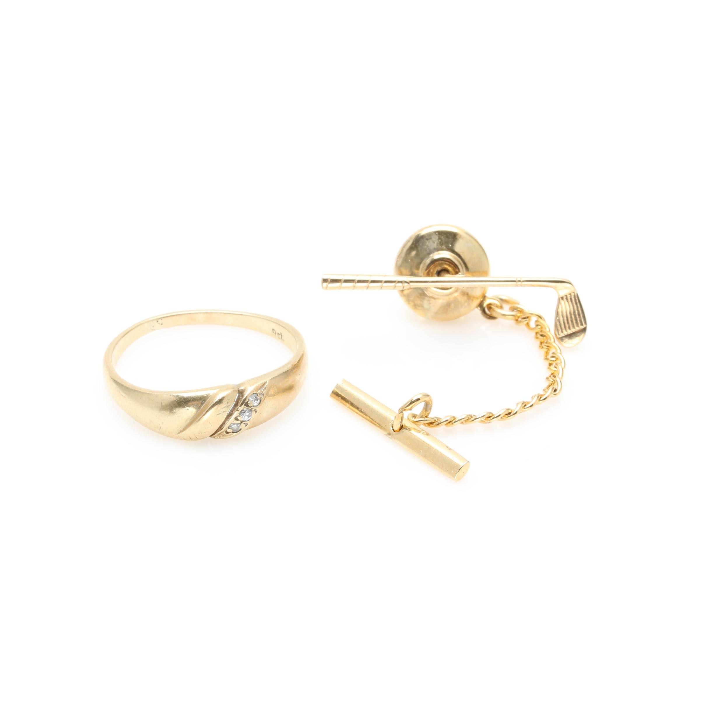 9K and 14K Yellow Gold Golf Tie Tack and Diamond Ring