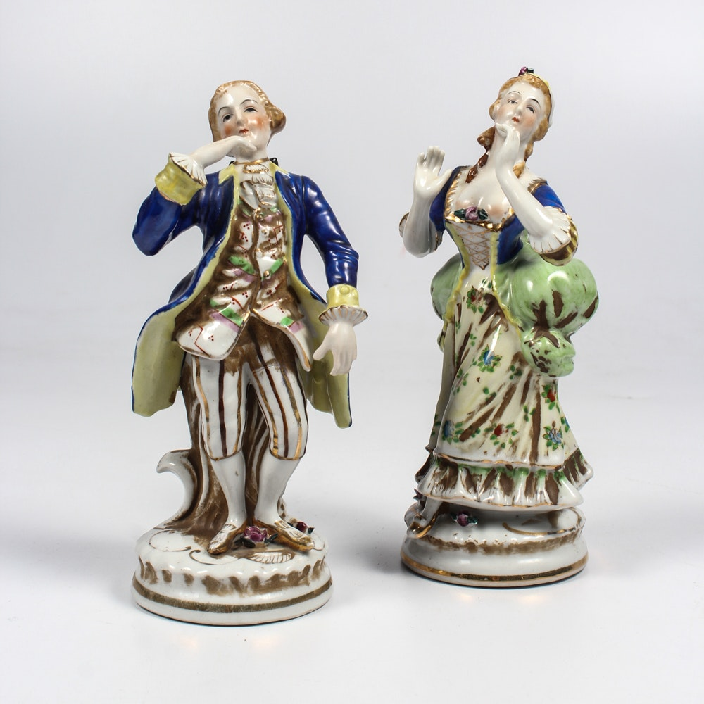 Japanese Hand-Painted 18th Century Style Figurines
