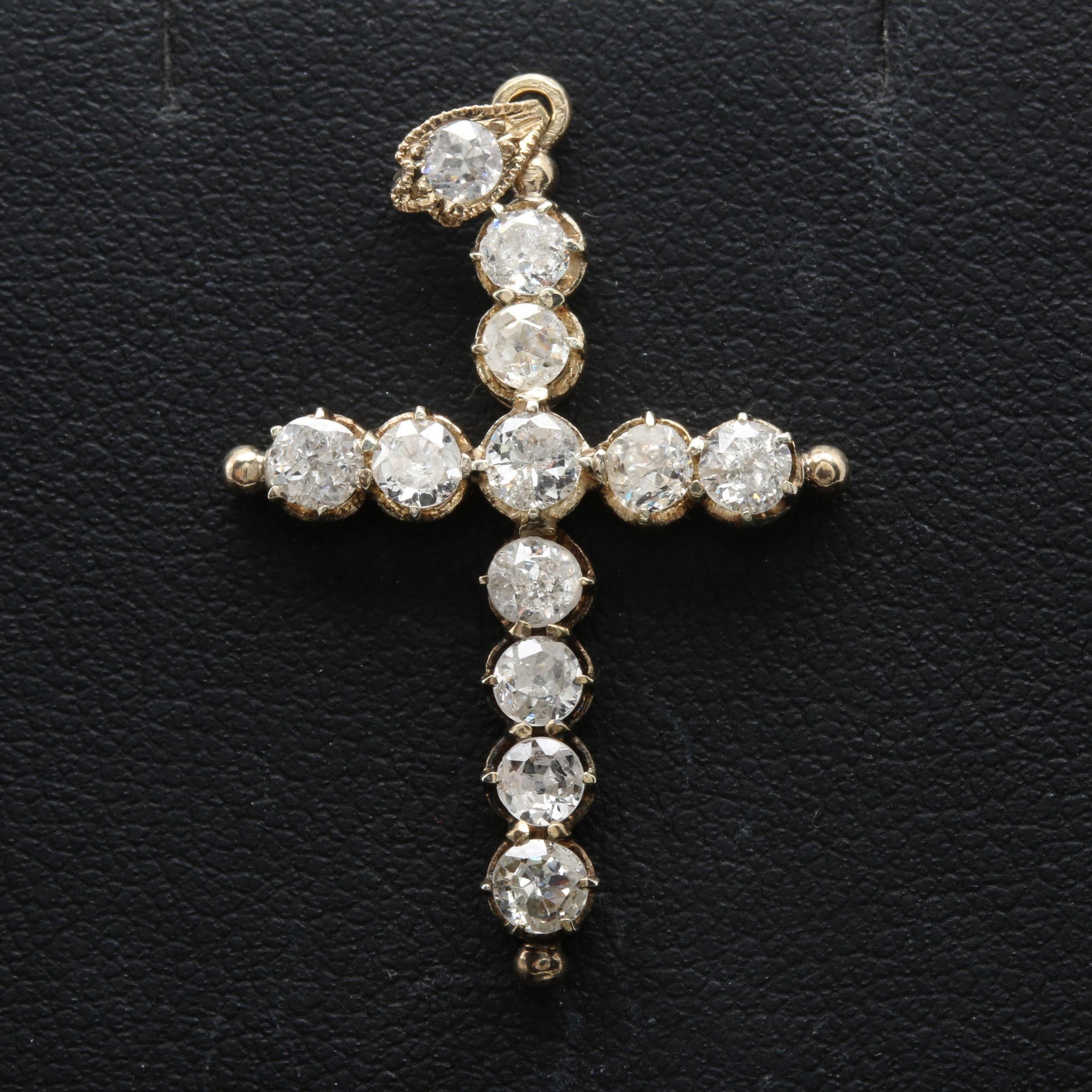 Antique 10K Yellow Gold 1.32 CTW Diamond Cross Pendant