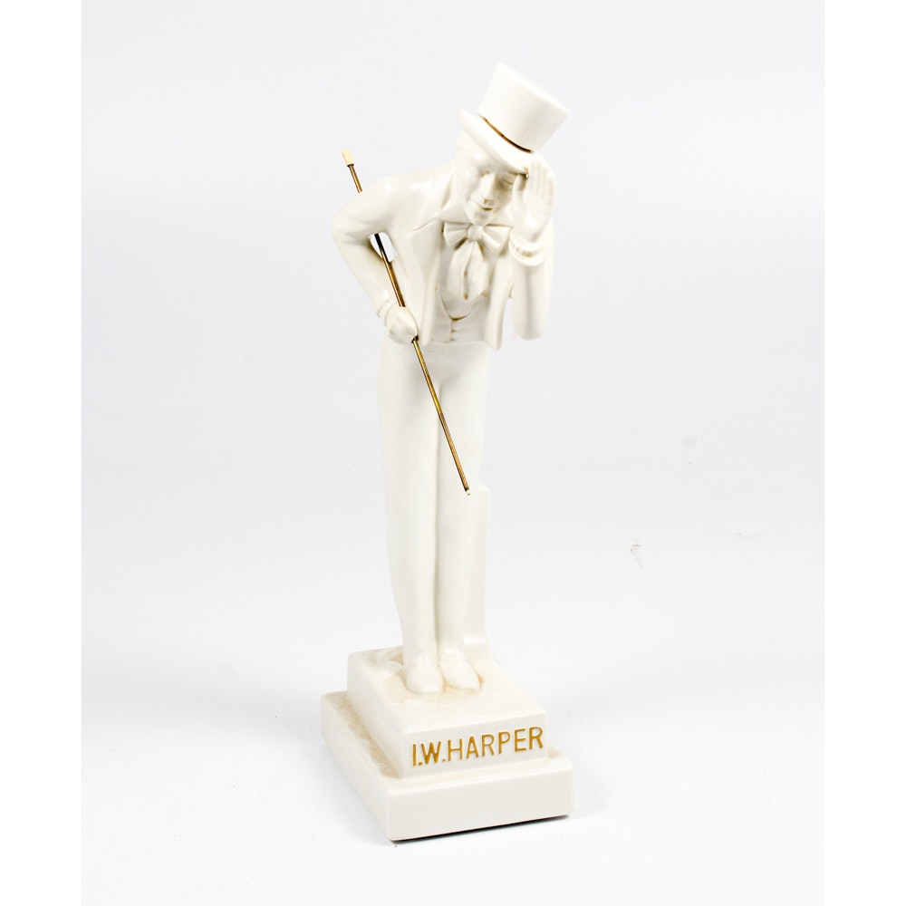 I.W. Harper Ceramic Figural Whiskey Bottle