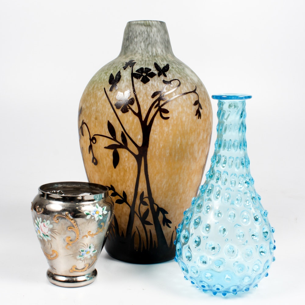 Cameo Glass Vase with Assorted Vases
