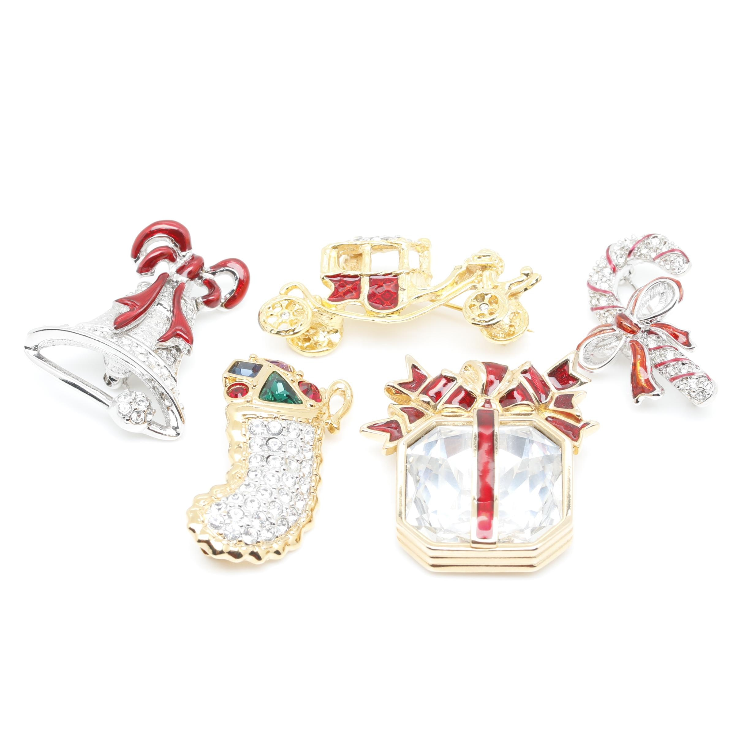 Gold and Silver Tone Christmas Brooches Featuring Swarovski