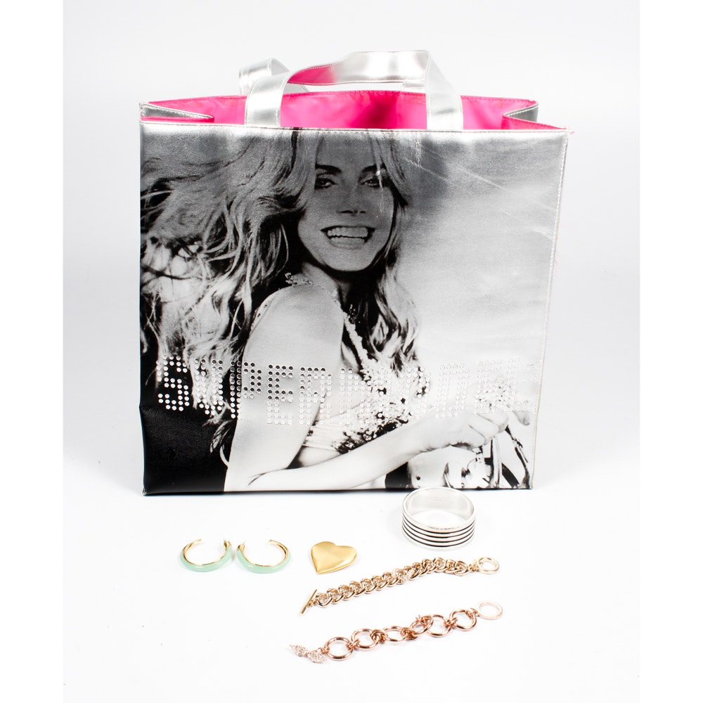 Victoria Secret Tote Bag With Costume Jewelry