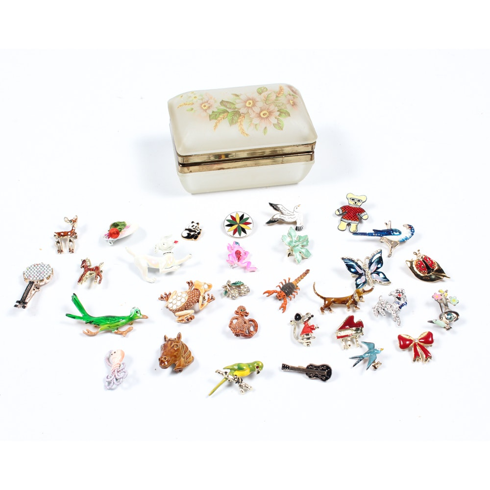 Glass Jewelry Box with Enamel Brooches
