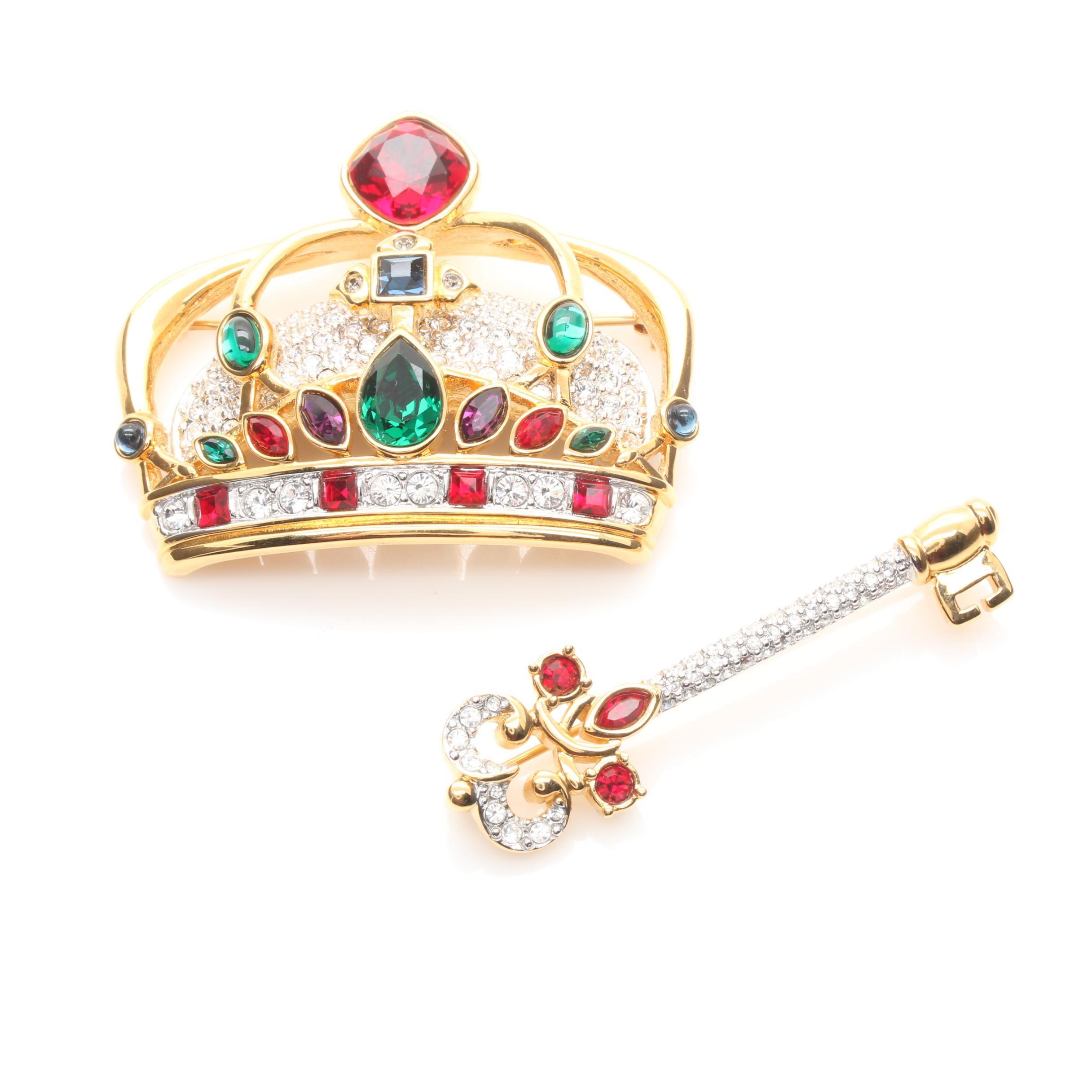 Swarovski Crown and Key Brooches