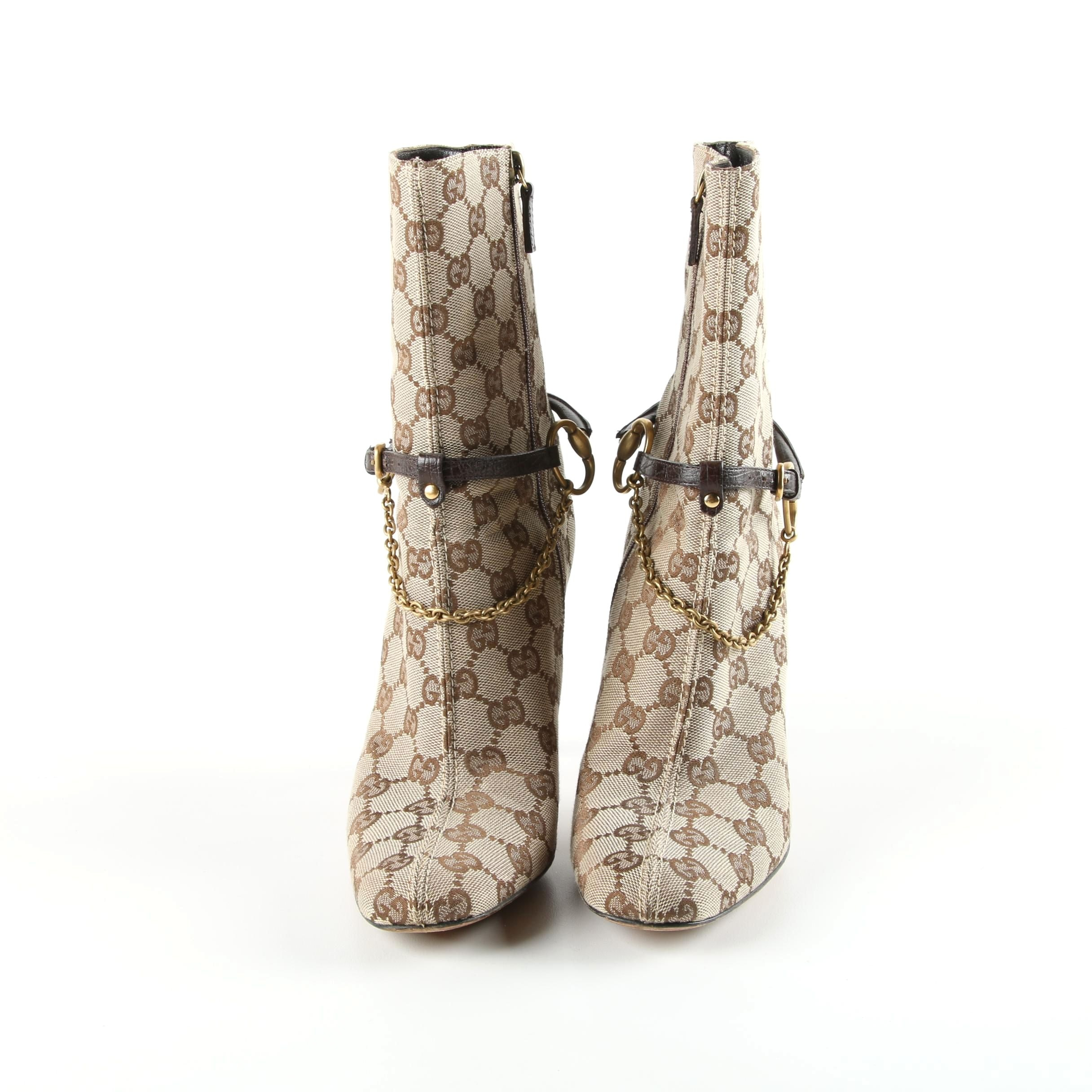 Women's Gucci Horsebit Signature Canvas and Leather Booties