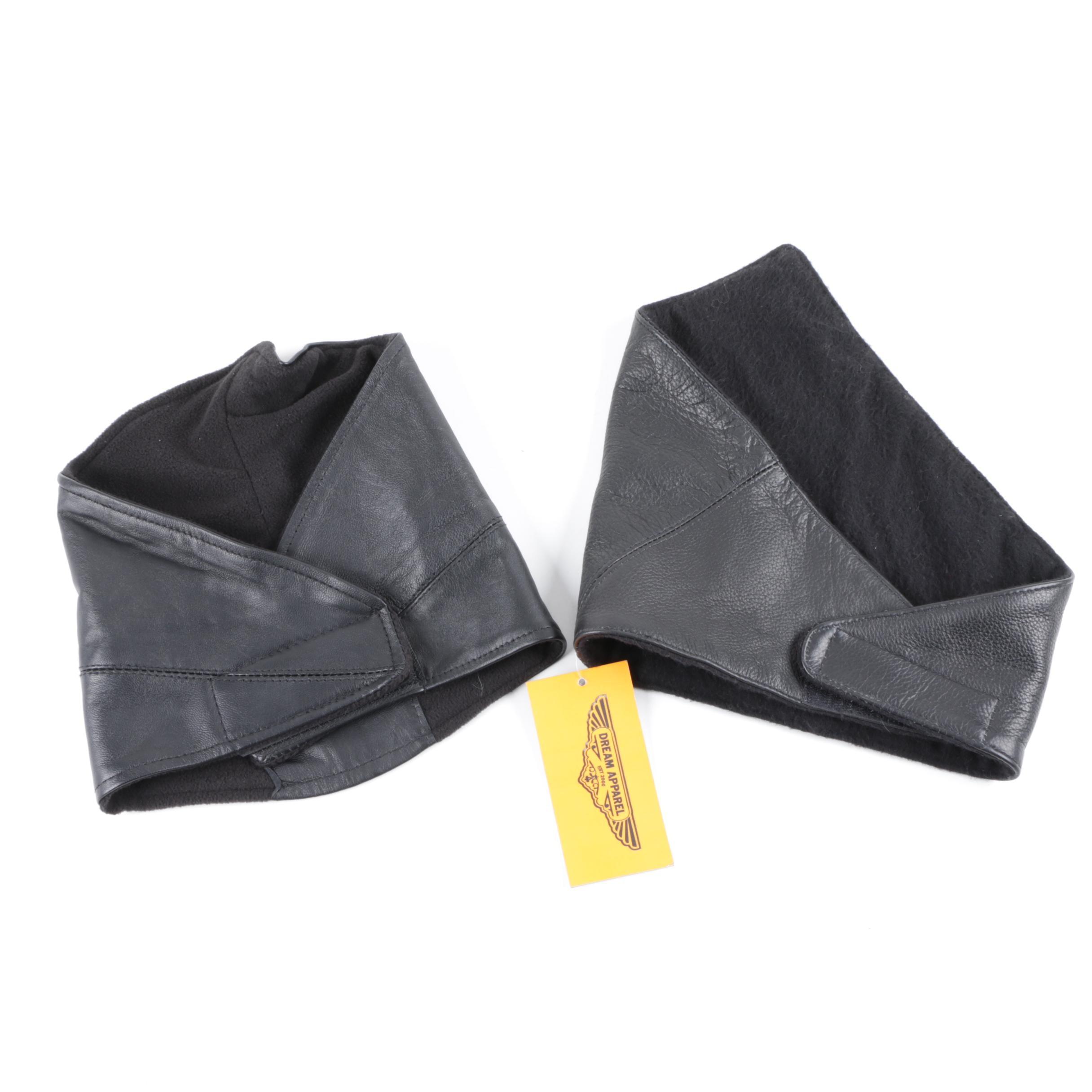 Dream Apparel Black Leather Motorcycle Half Masks