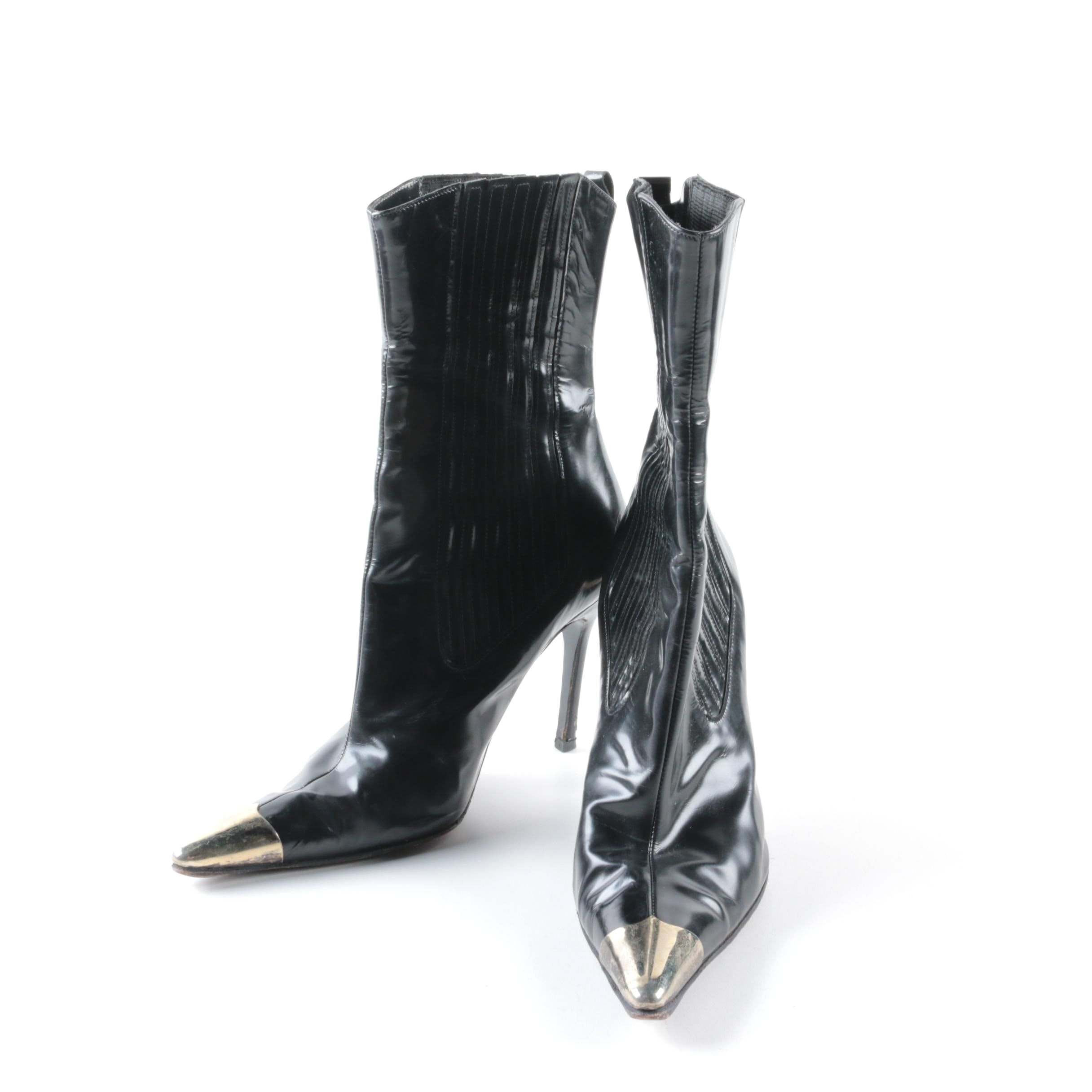 Dolce & Gabbana Black Leather High Heeled Ankle Boots